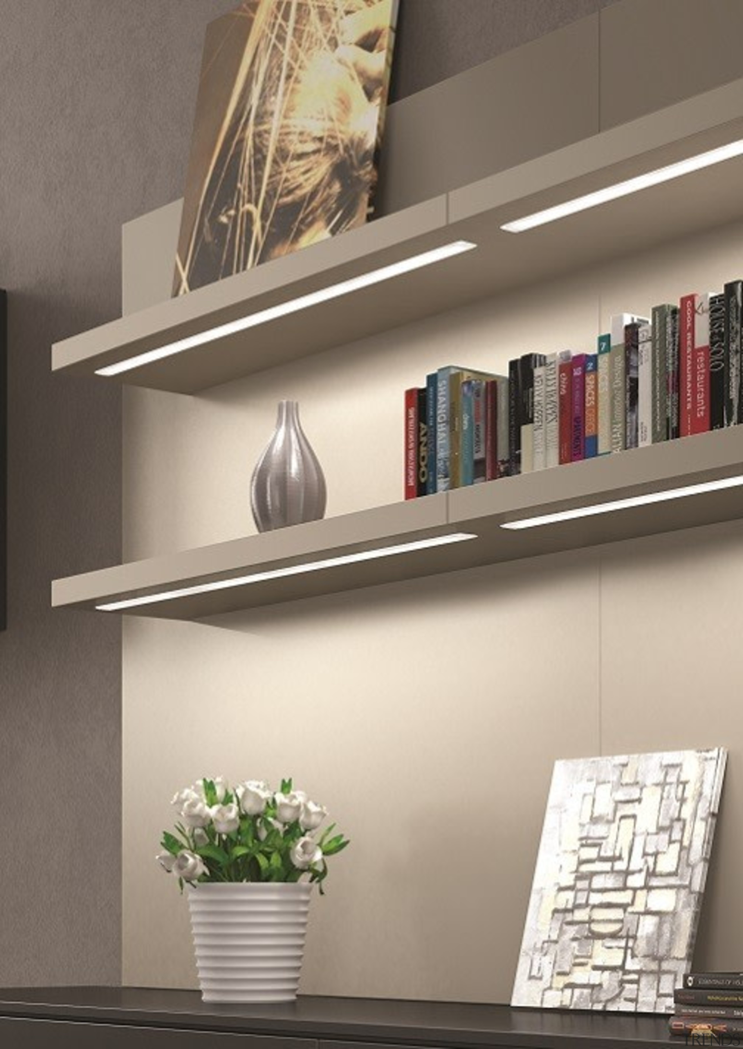 Designed in Italy to comply with Australian/New Zealand bookcase, furniture, interior design, product design, shelf, shelving, wall, gray