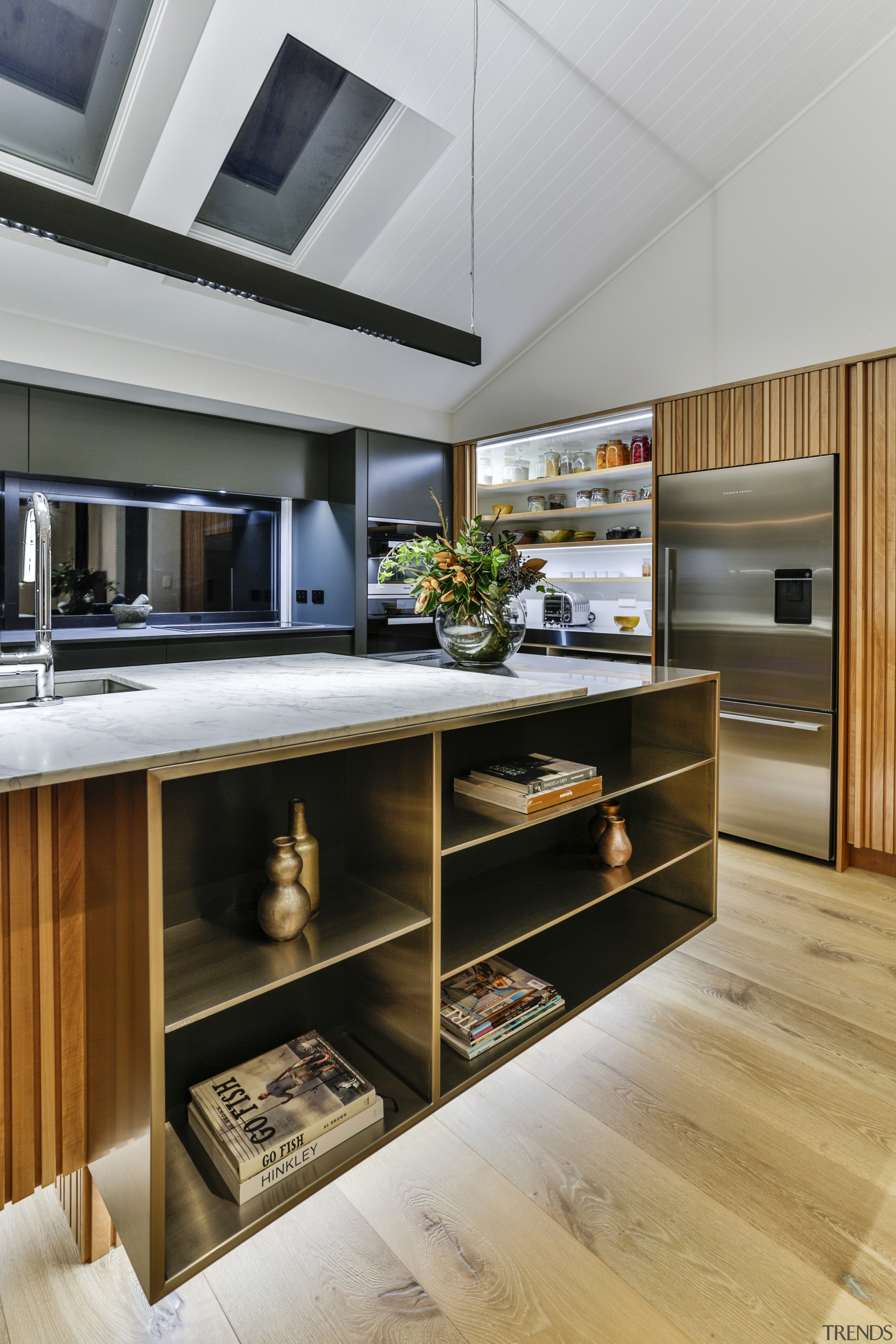 This kitchen by Fyfe Kitchens features stainless steel gray