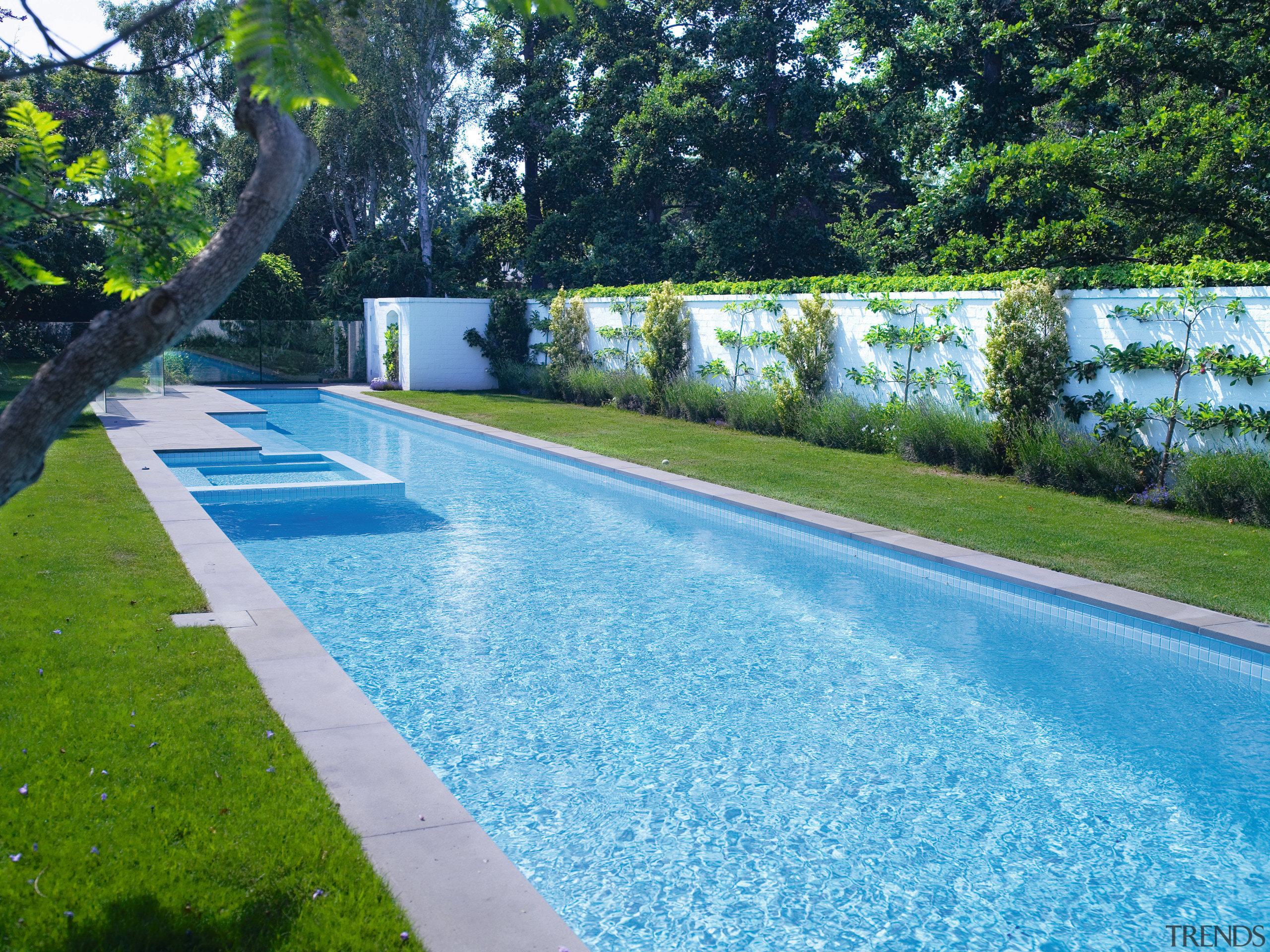 View of the long Pool that features perimeter estate, garden, grass, landscape, landscaping, lawn, leisure, plant, property, real estate, reflecting pool, swimming pool, tree, water, water feature, water resources, watercourse, yard, teal