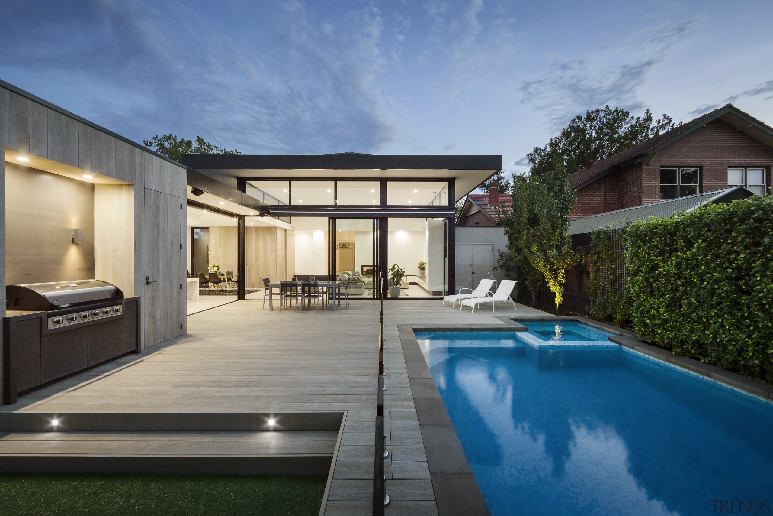 ​​​​​​​Entertainment plus – a sprawling deck, barbecue area, architecture, backyard, home, house, residential area, swimming pool, decking, LSA Architects