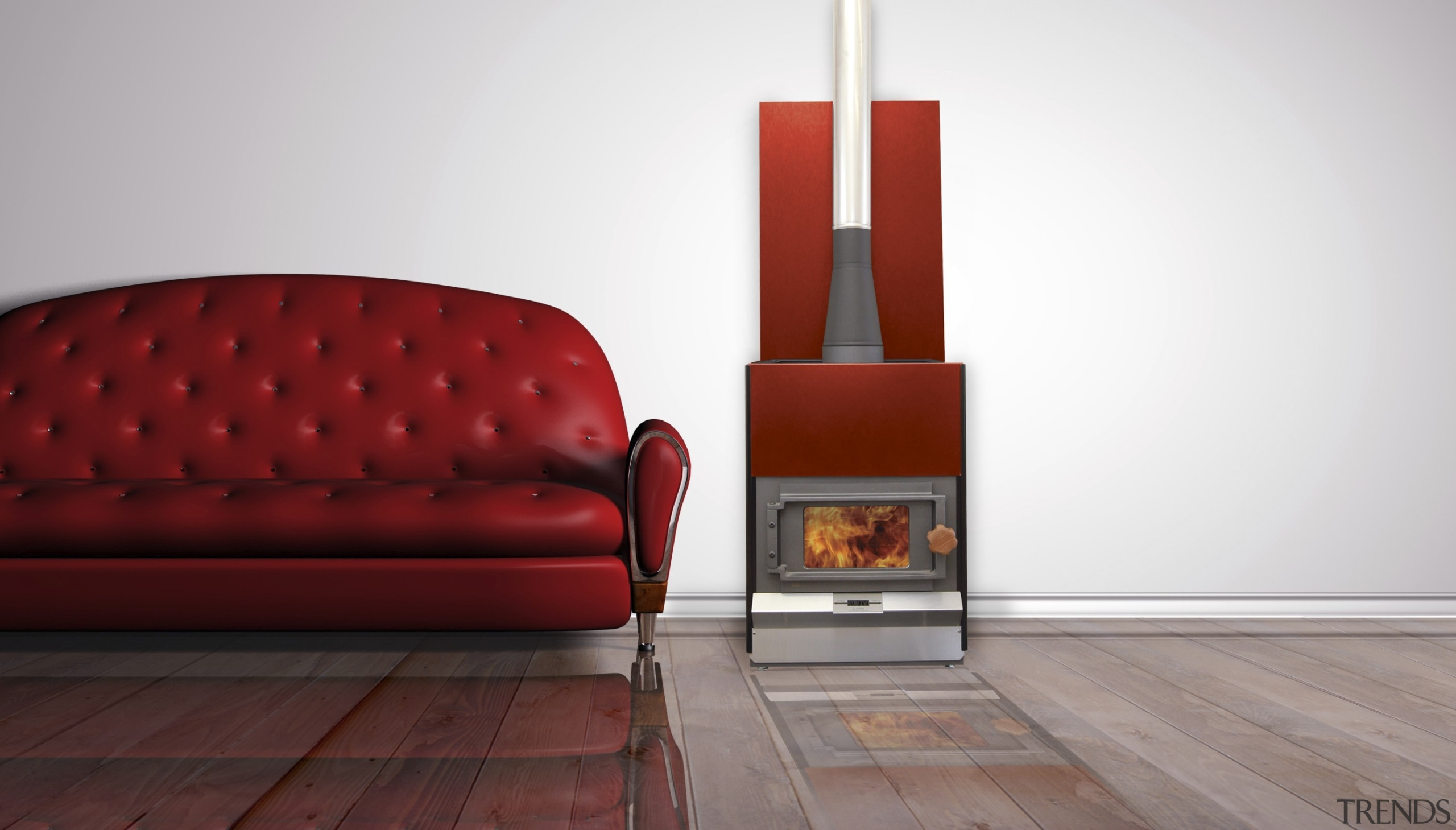 Pyroclassic IV with Wineberry panels - Pyroclassic IV chair, couch, floor, flooring, furniture, hardwood, hearth, home appliance, interior design, orange, wood, wood burning stove, white, red, gray