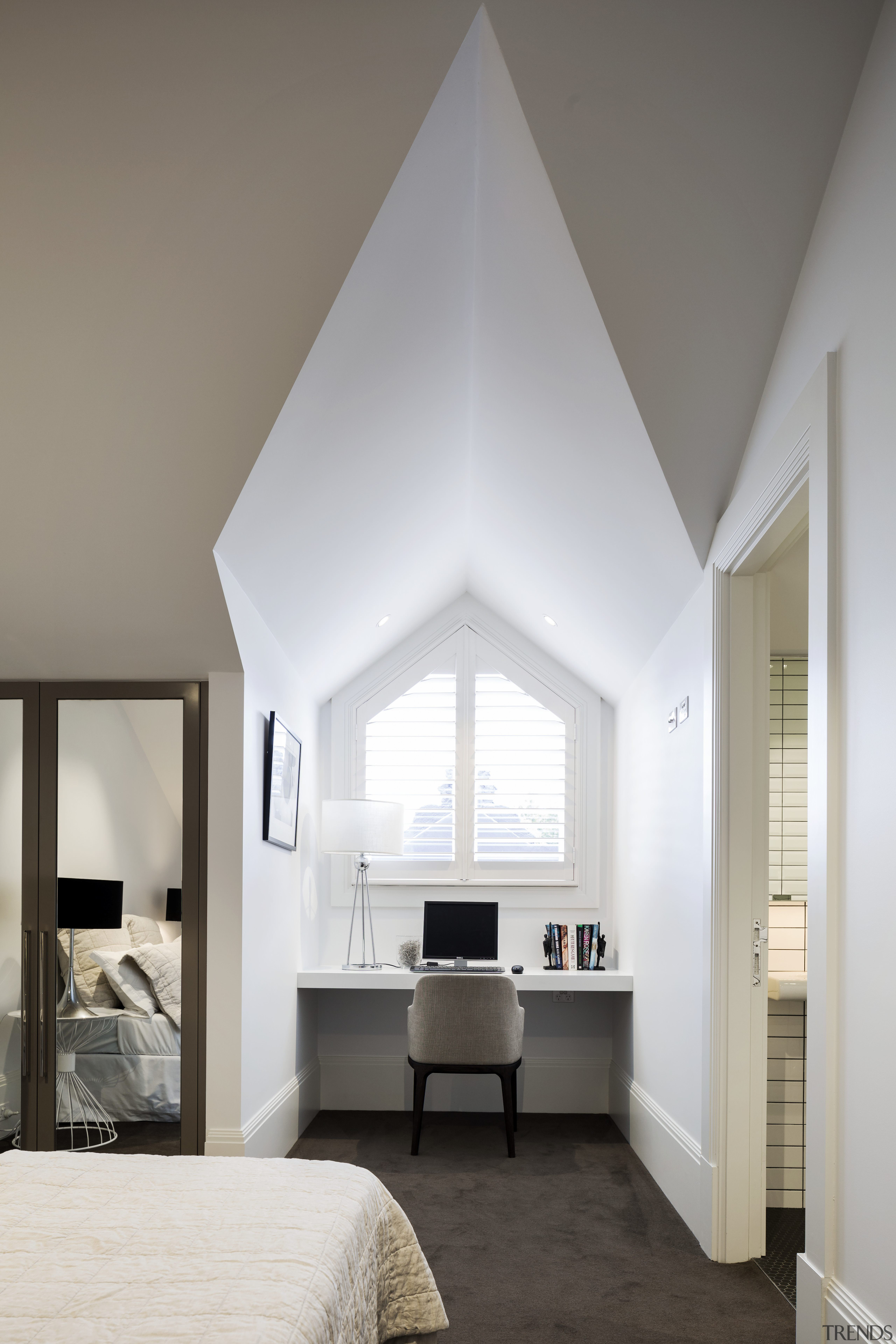 This soaring dormer creates a sculptural study space architecture, ceiling, daylighting, home, house, interior design, room, window, gray