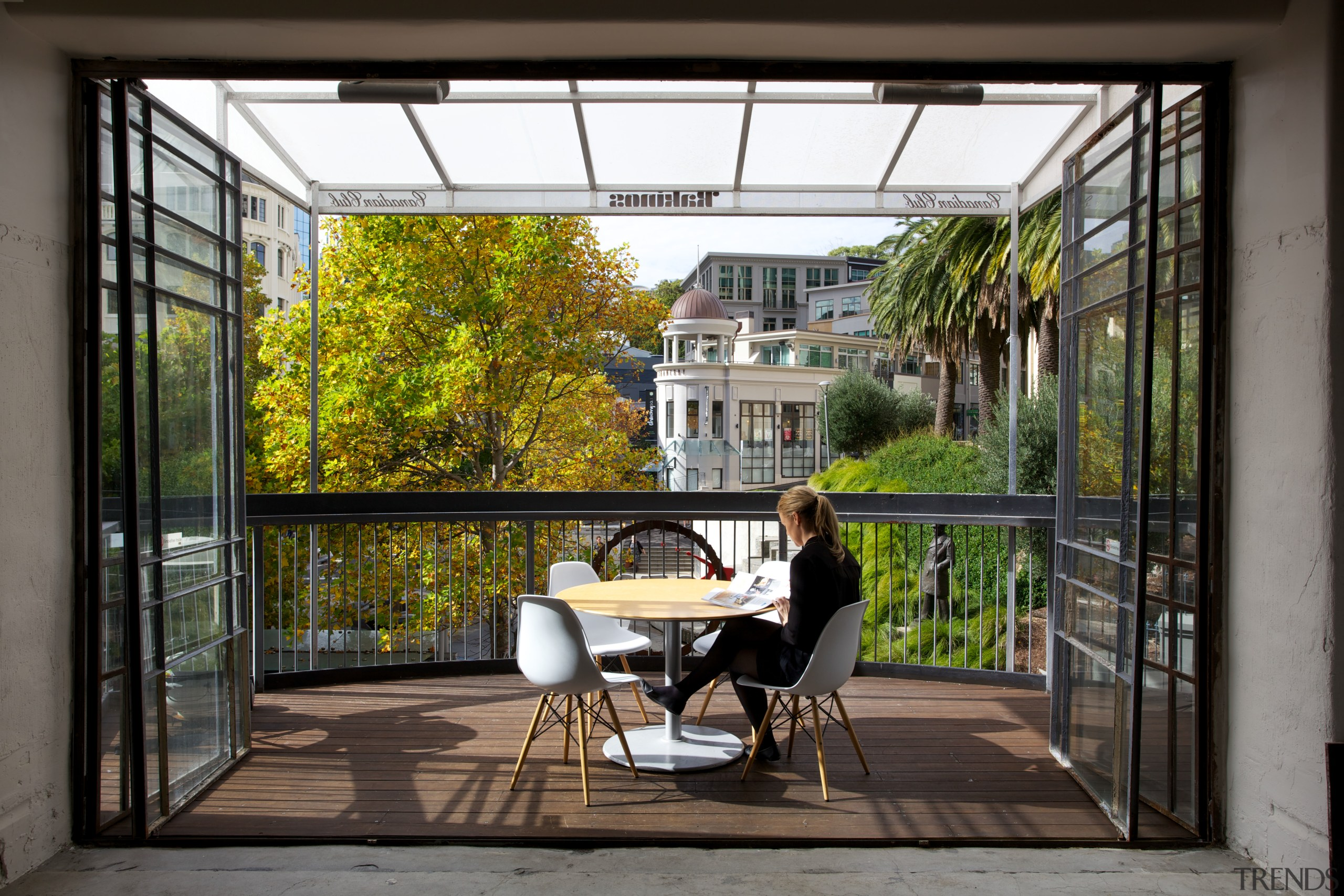 Steel doors open up to the Gaze office architecture, balcony, courtyard, door, house, outdoor structure, real estate, window, black, gray
