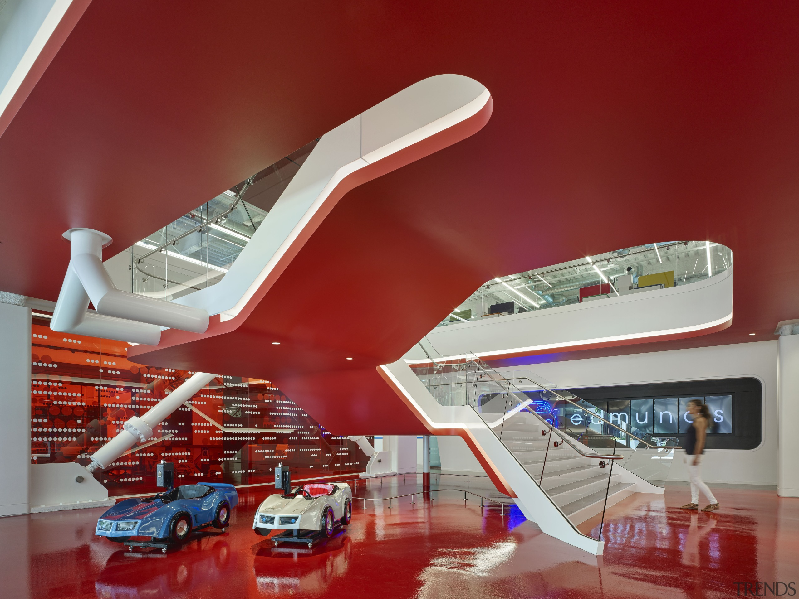 The main stairs next to reception at Edmunds.com architecture, mode of transport, product, product design, red, gray