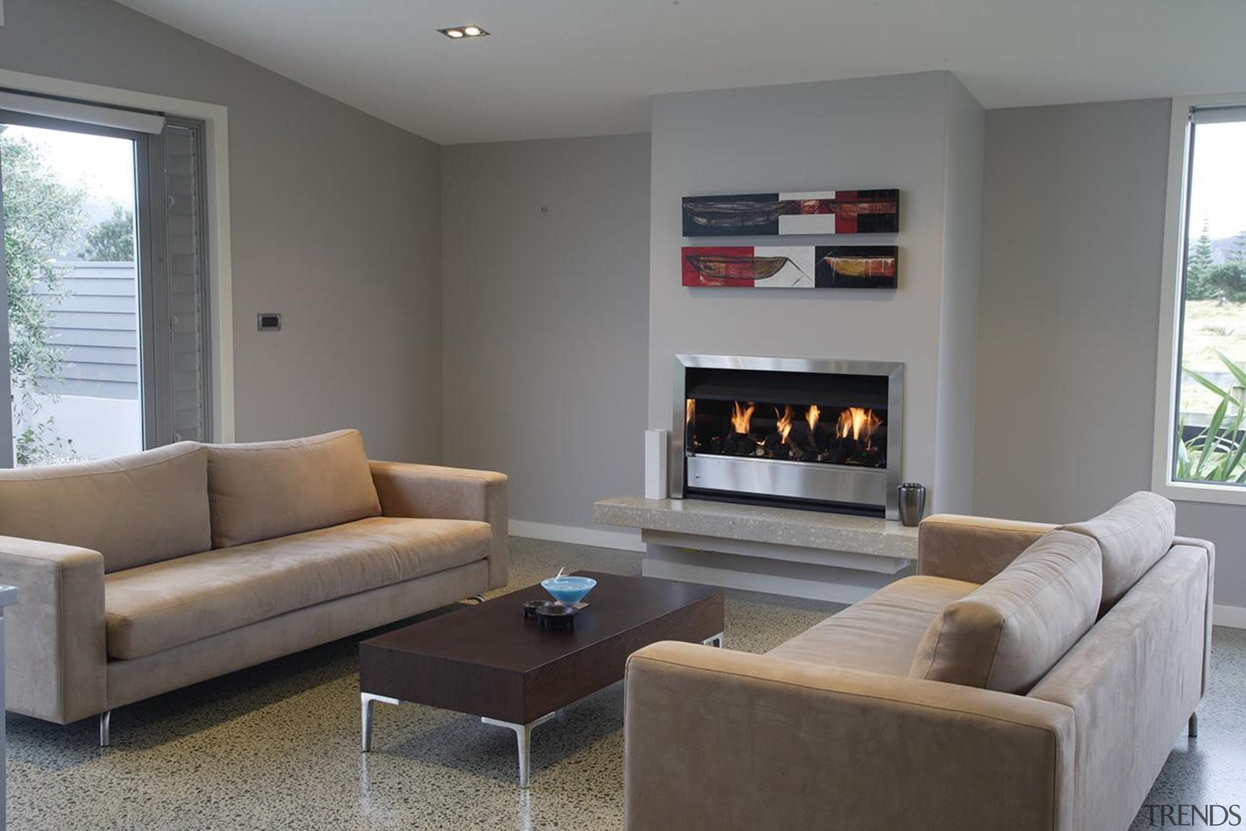 For more information, please visit www.gjgardner.co.nz fireplace, floor, flooring, hearth, interior design, living room, real estate, room, gray