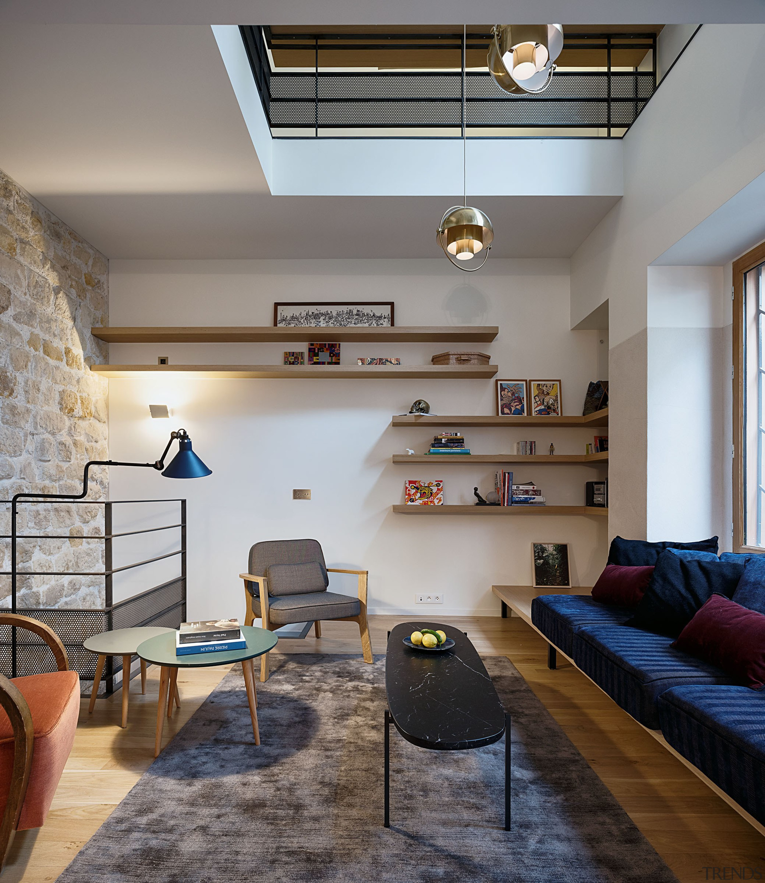Living room and access to the basement - apartment, architecture, building, ceiling, coffee table, design, floor, flooring, furniture, home, house, interior design, living room, loft, property, real estate, room, table, wall, gray