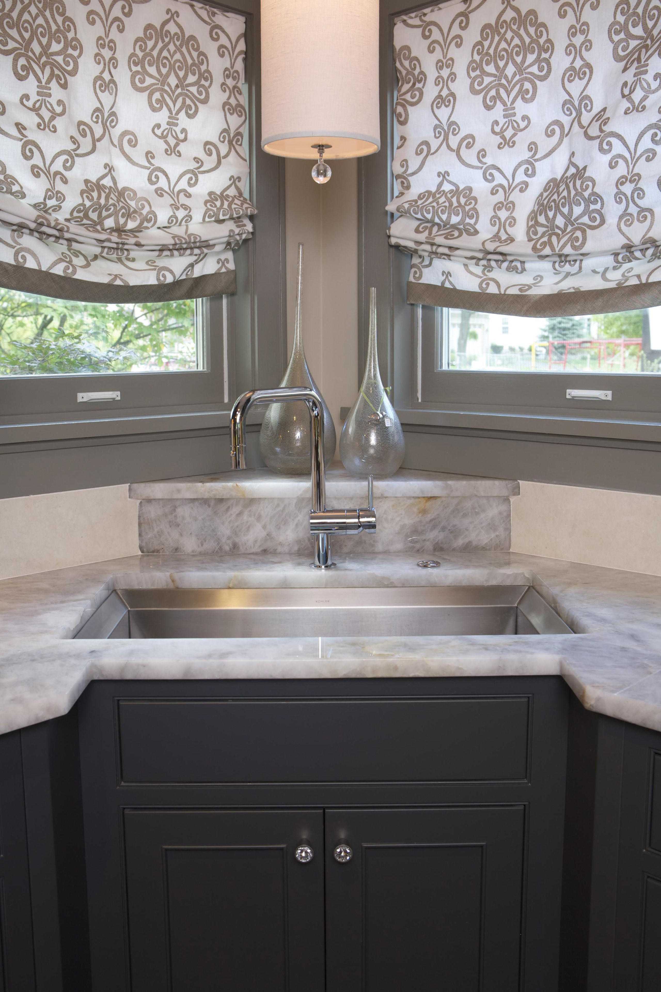 Historic Bungalow Renovaiton - Kitchen Sink Detail - bathroom, bathroom accessory, cabinetry, countertop, cuisine classique, floor, granite, home, interior design, kitchen, room, sink, tile, wall, gray, black