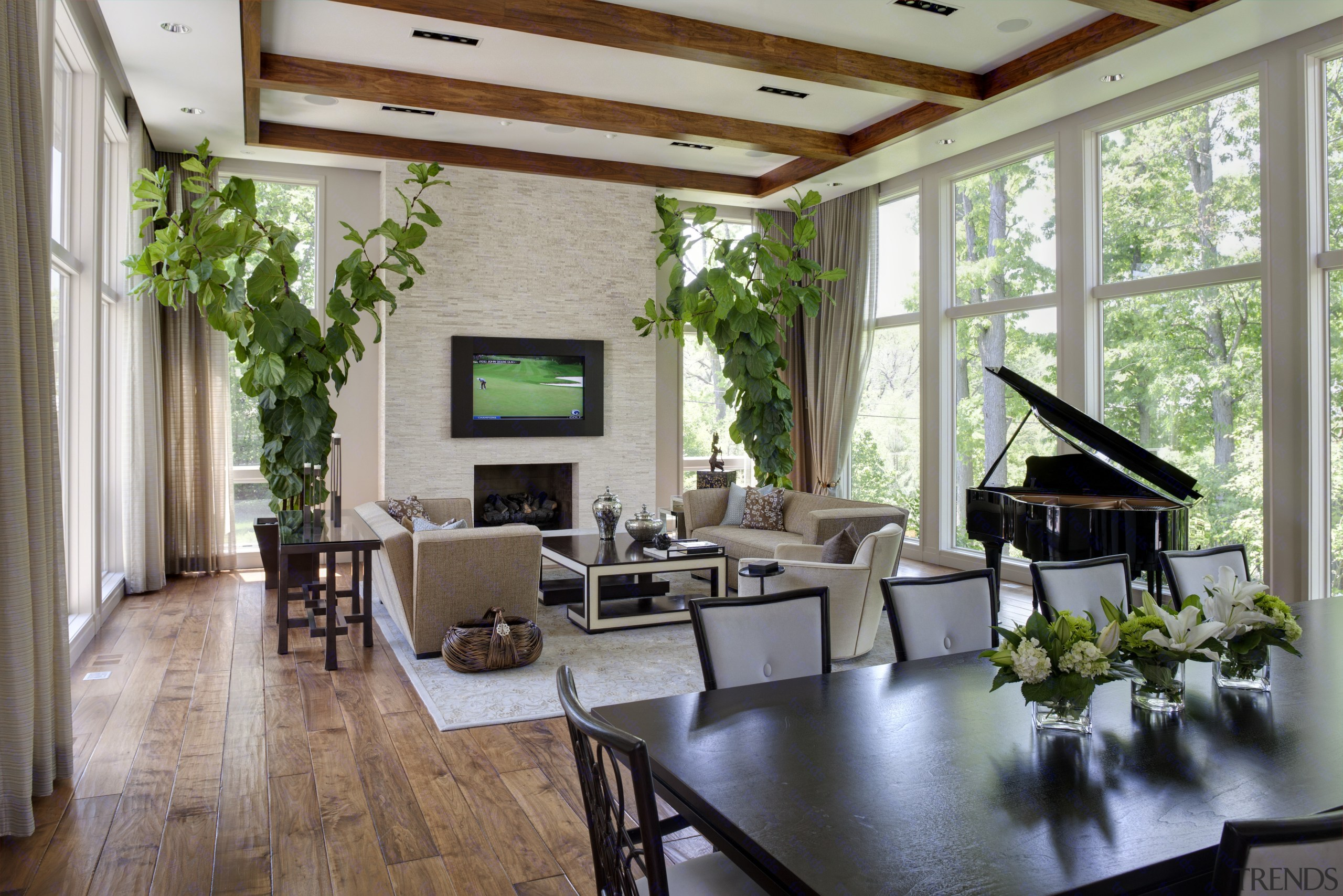 Greys and whites offset wooden floors and ceilings.High architecture, ceiling, home, house, interior design, living room, real estate, window, gray