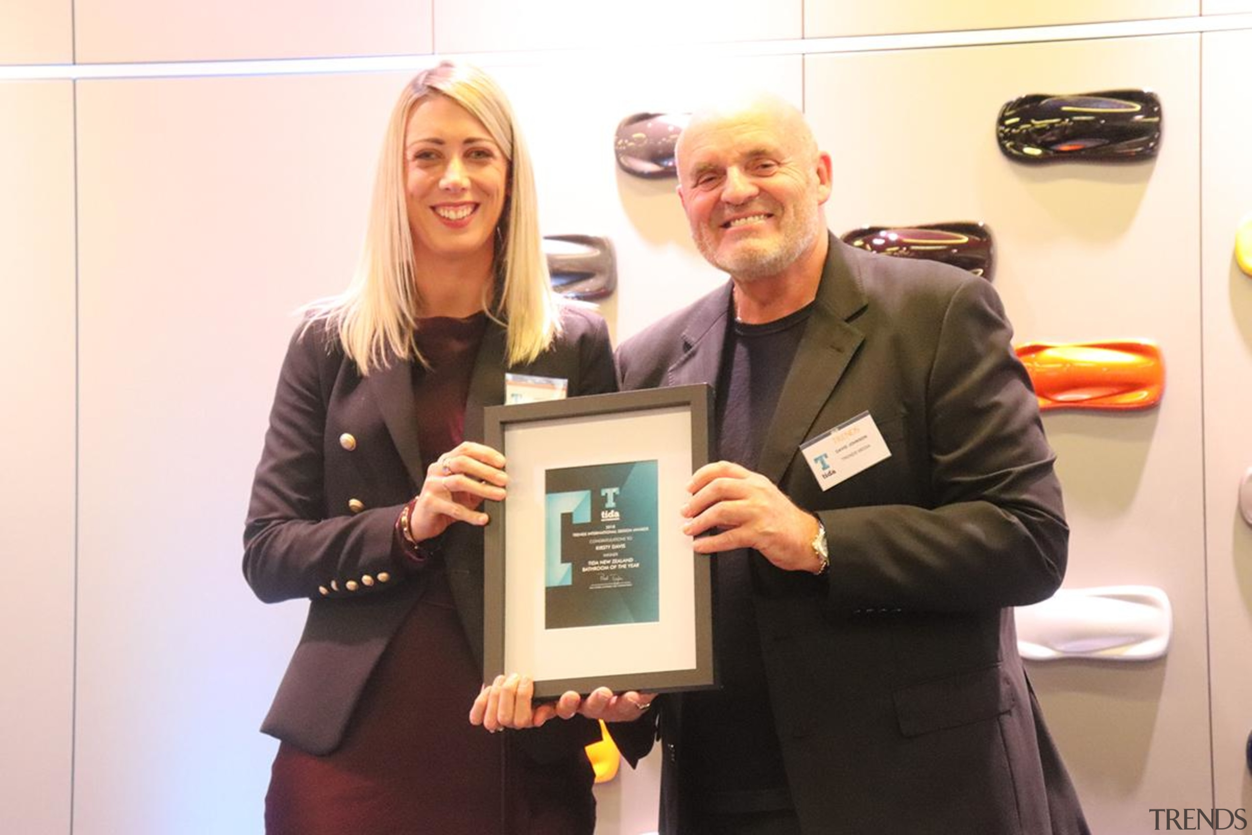 Kirsty Davis and David Johnson - award | award, electronic device, event, technology, white