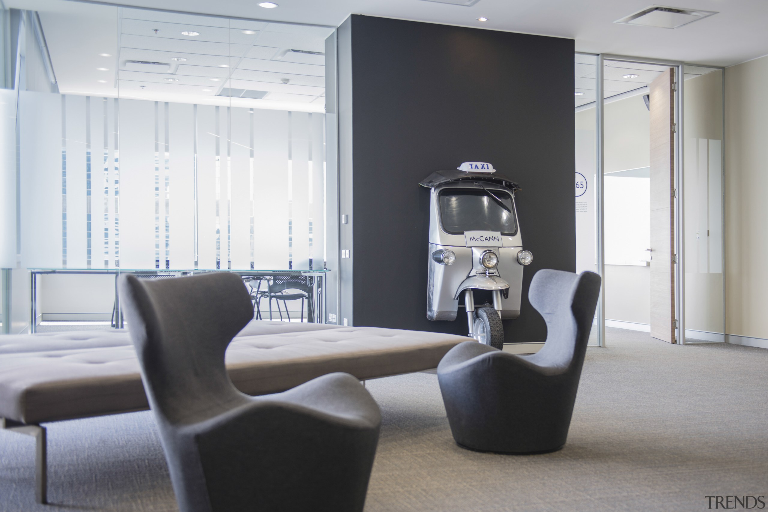 Interior designers DWP reflected Thai culture by incorporating chair, furniture, interior design, office, product design, table, gray, white, black