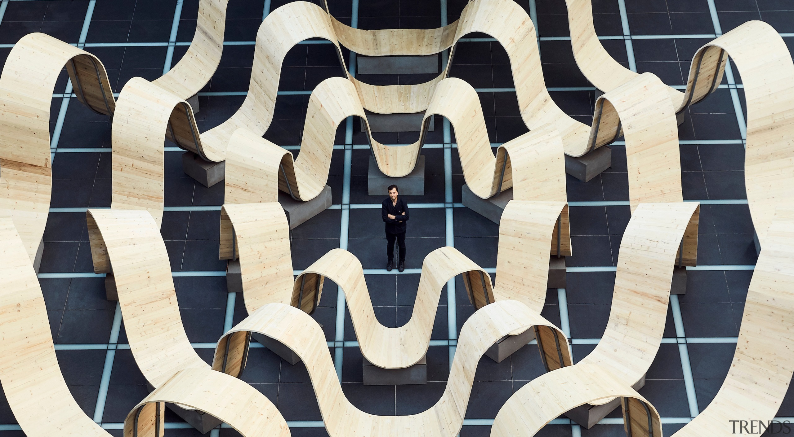 Made from scaffolding planks, Paul Cocksedge collaborated with architecture, design, pattern, symmetry, white, black