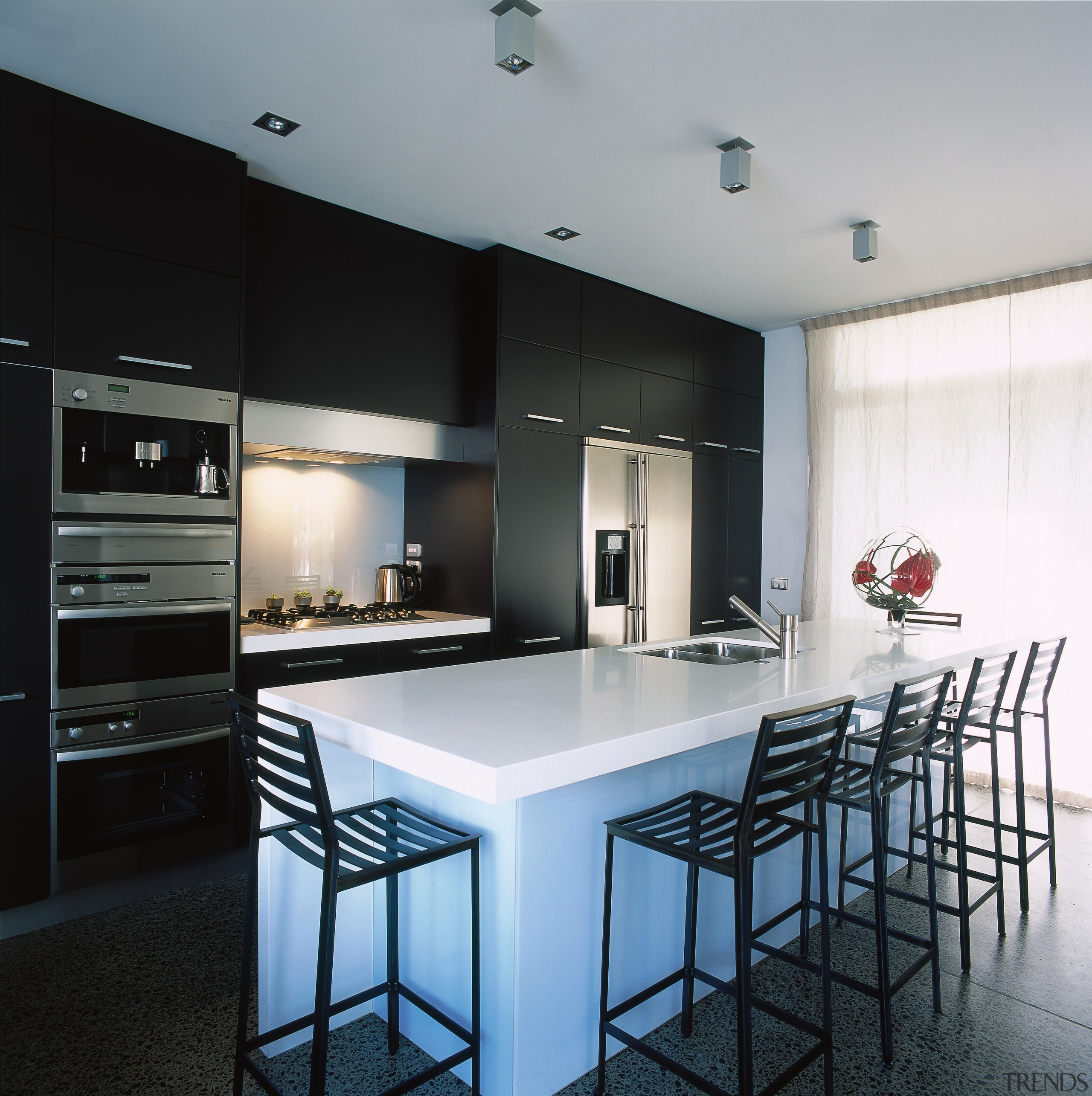 View of this kitchen - View of this countertop, interior design, kitchen, real estate, black, gray