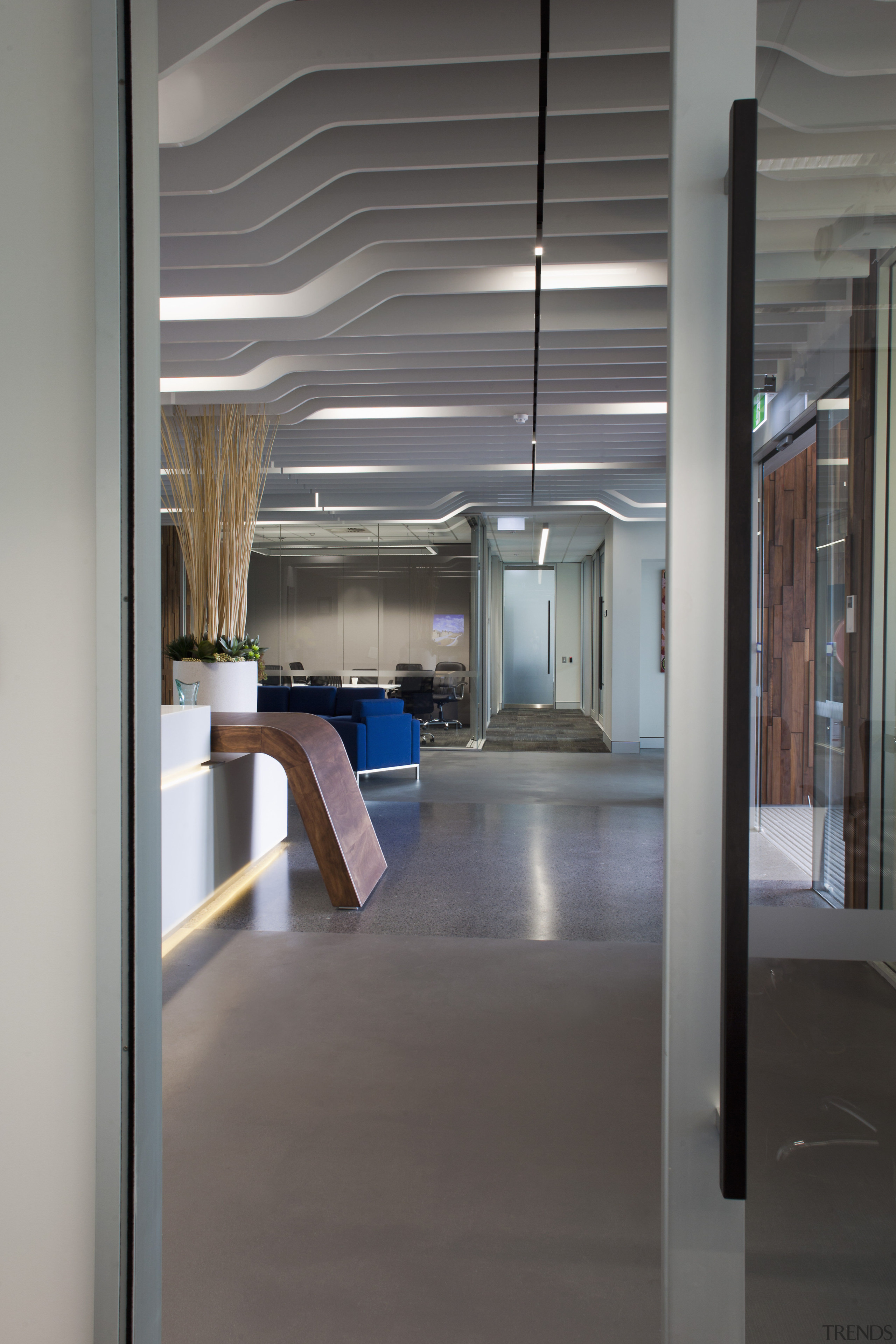 This boutique office development on a brownfields site floor, glass, interior design, gray