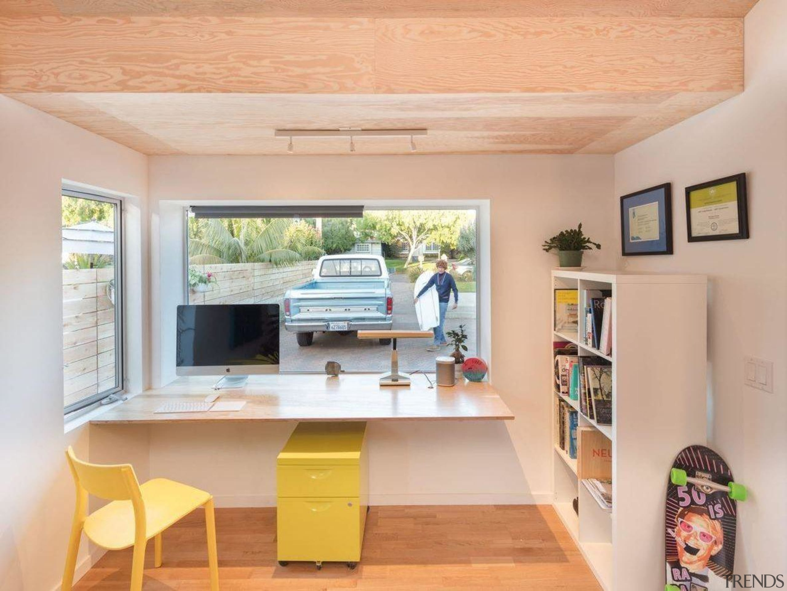 Architect: Surfside Projects. Photography by Darren Bradley building, ceiling, desk, floor, furniture, home, house, interior design, property, real estate, room, shelf, shelving, table, yellow, orange, gray