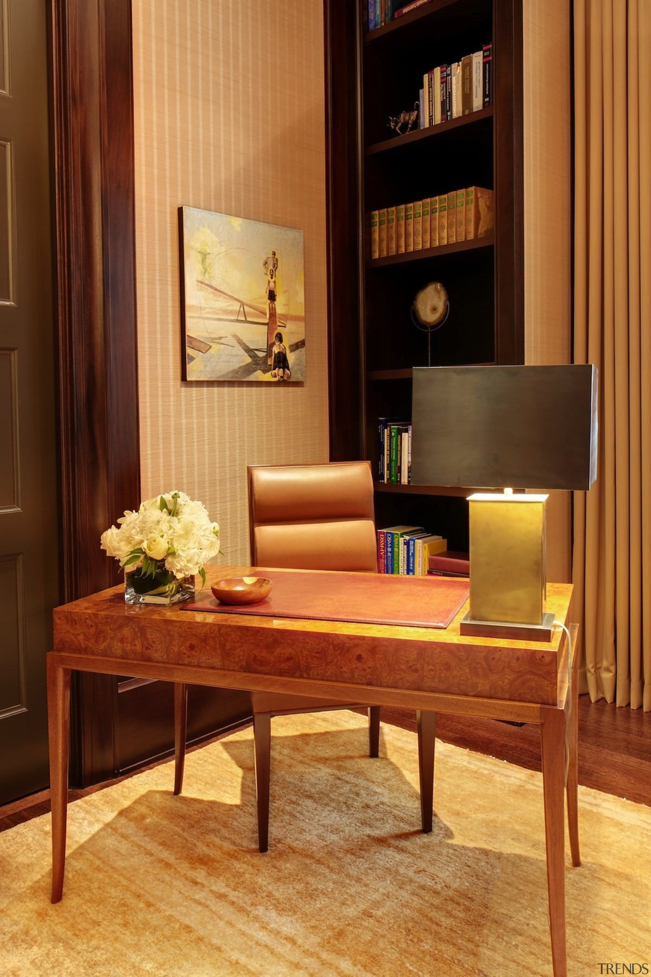 A timeless desk and chair are the perfect chair, coffee table, furniture, hardwood, home, interior design, living room, suite, table, wood, orange, brown