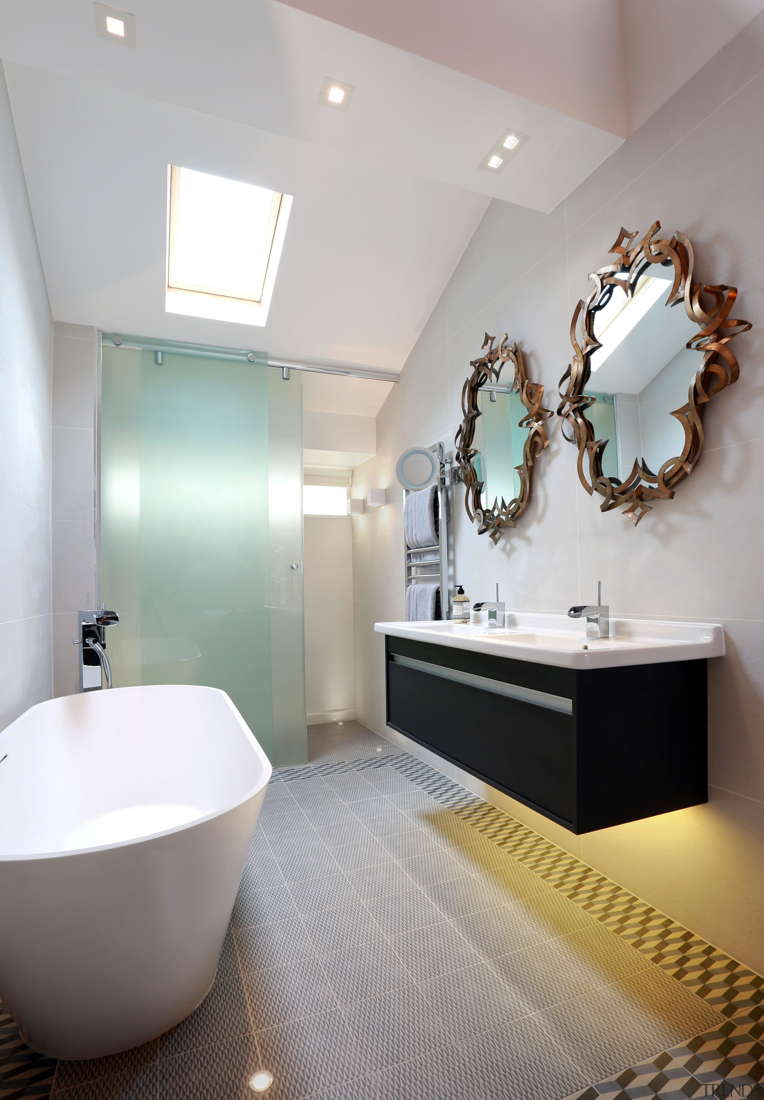 For this renovation project, an opaque green glass bathroom, bathroom accessory, ceiling, floor, interior design, plumbing fixture, room, sink, tap, tile, gray