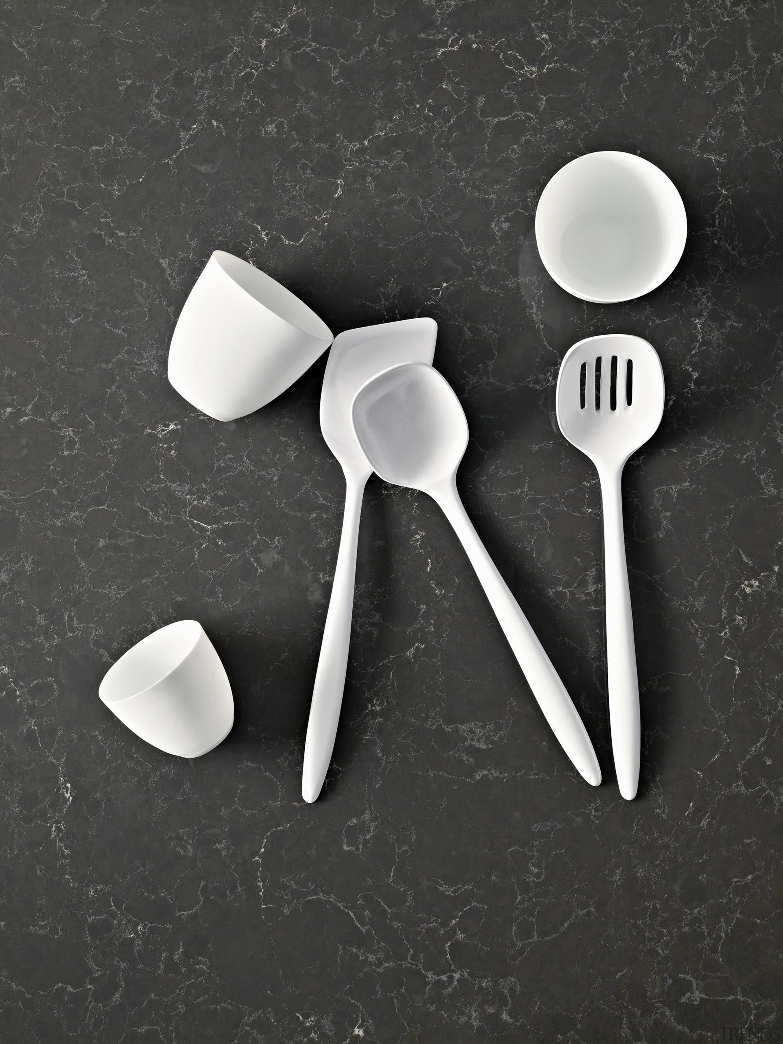 Smooth slate grey with chalky white veins. - black and white, cutlery, fork, product, product design, spoon, still life photography, tableware, black