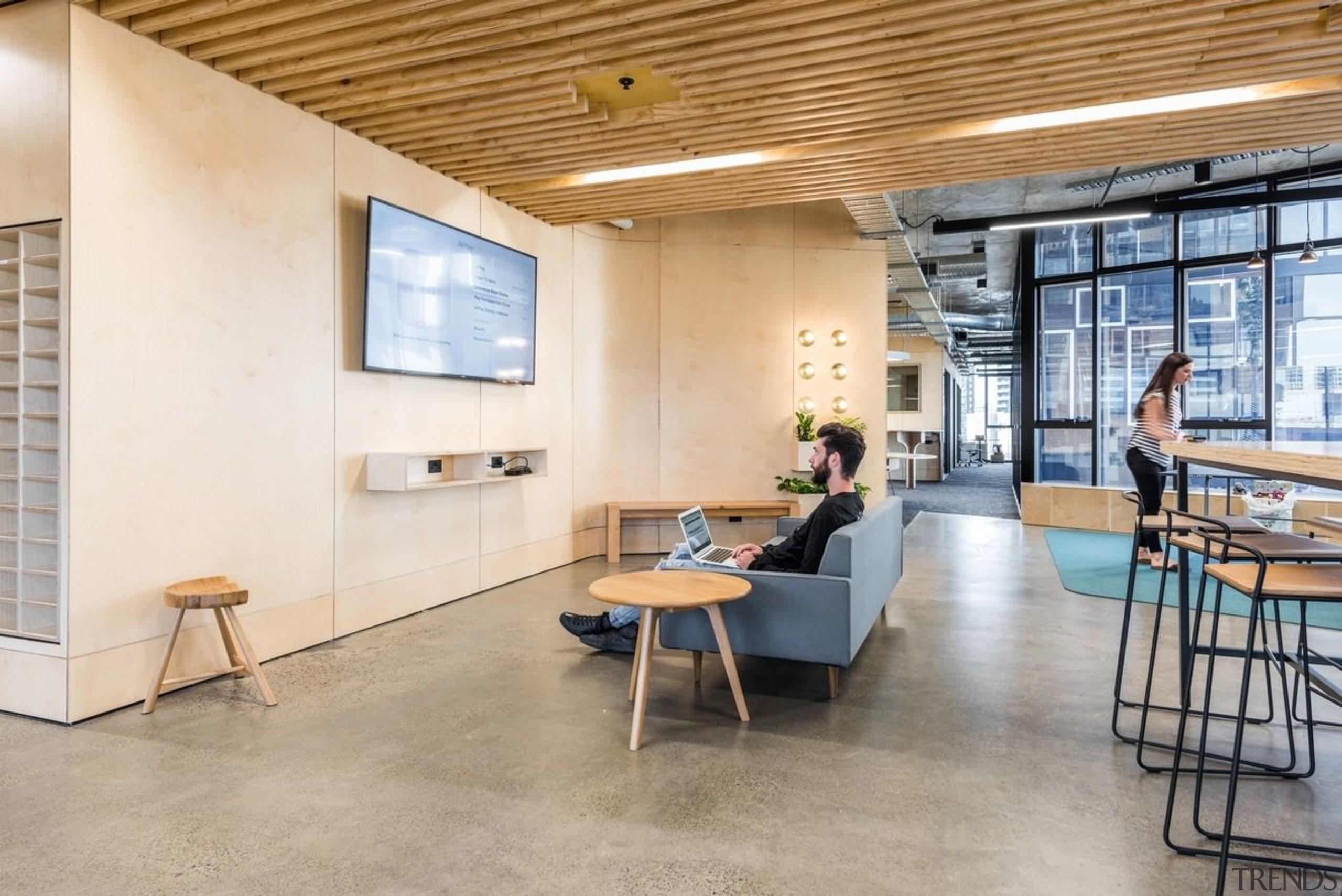 Designed by: Siren Design GroupPhotography by Cheyne architecture, ceiling, daylighting, floor, flooring, furniture, interior design, loft, table, gray
