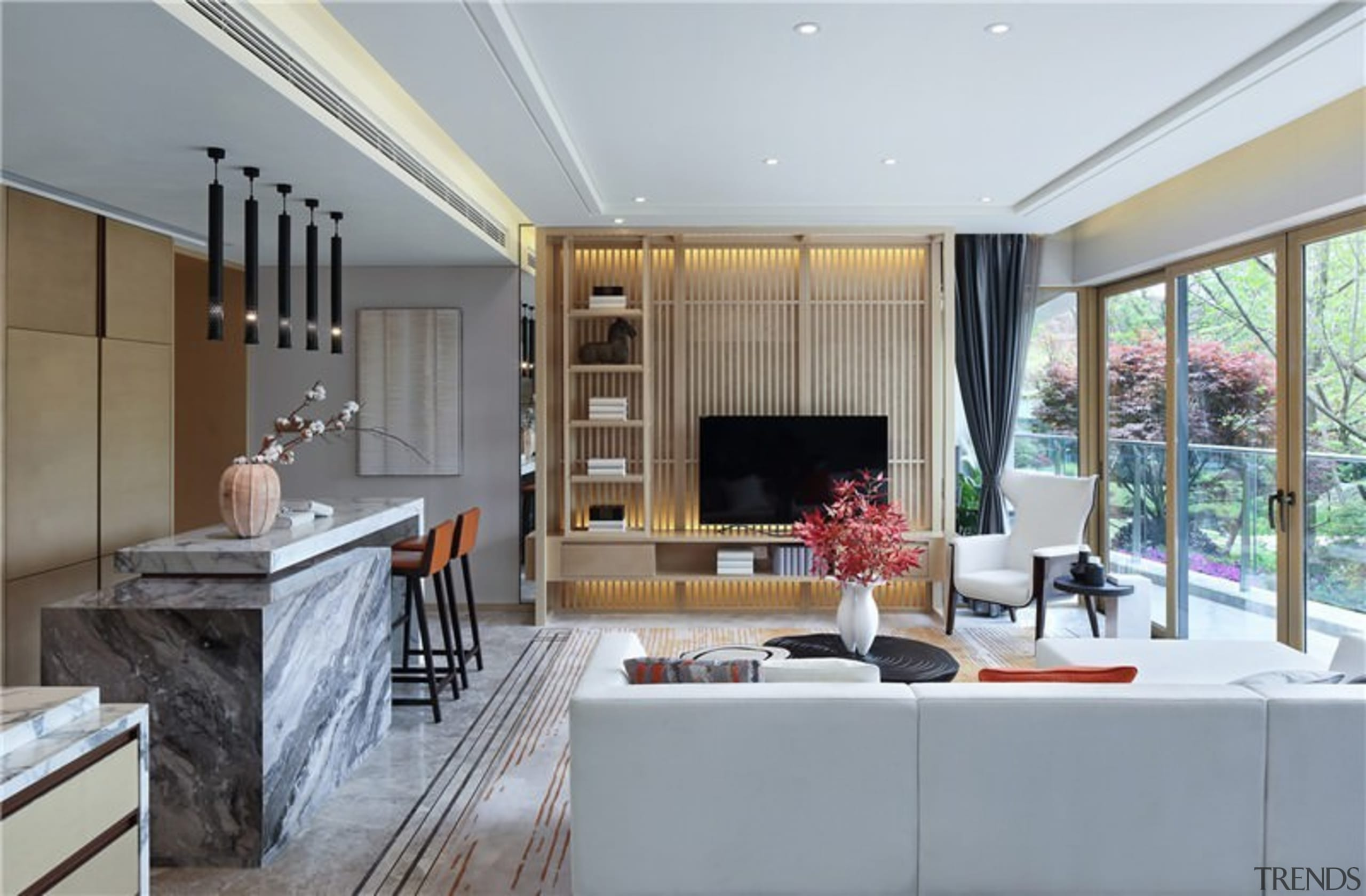 A small kitchen means more room for an ceiling, home, house, interior design, living room, real estate, window, gray