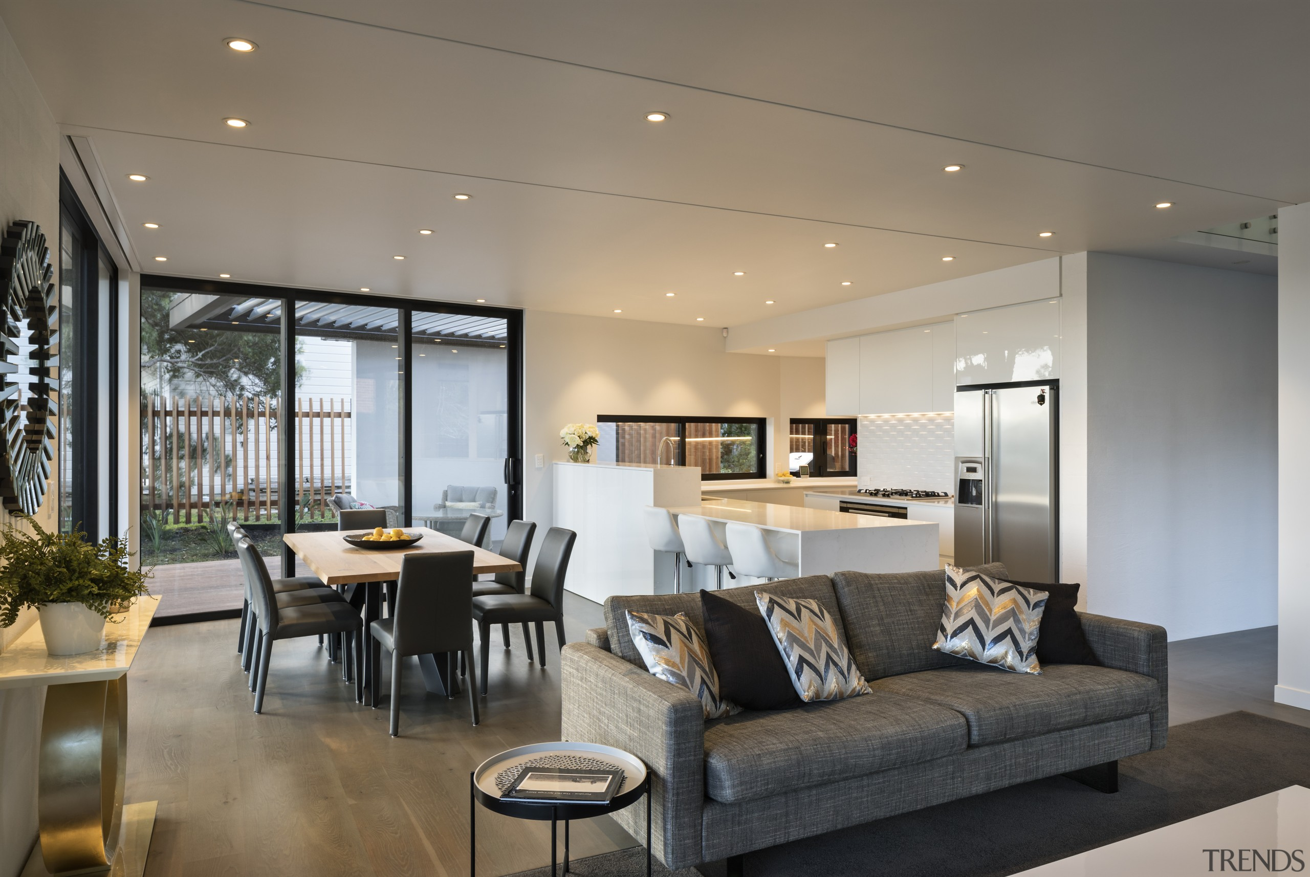 Open-plan living, kitchen and dining - It's a apartment, architecture, ceiling, house, interior design, living room, penthouse apartment, real estate, gray