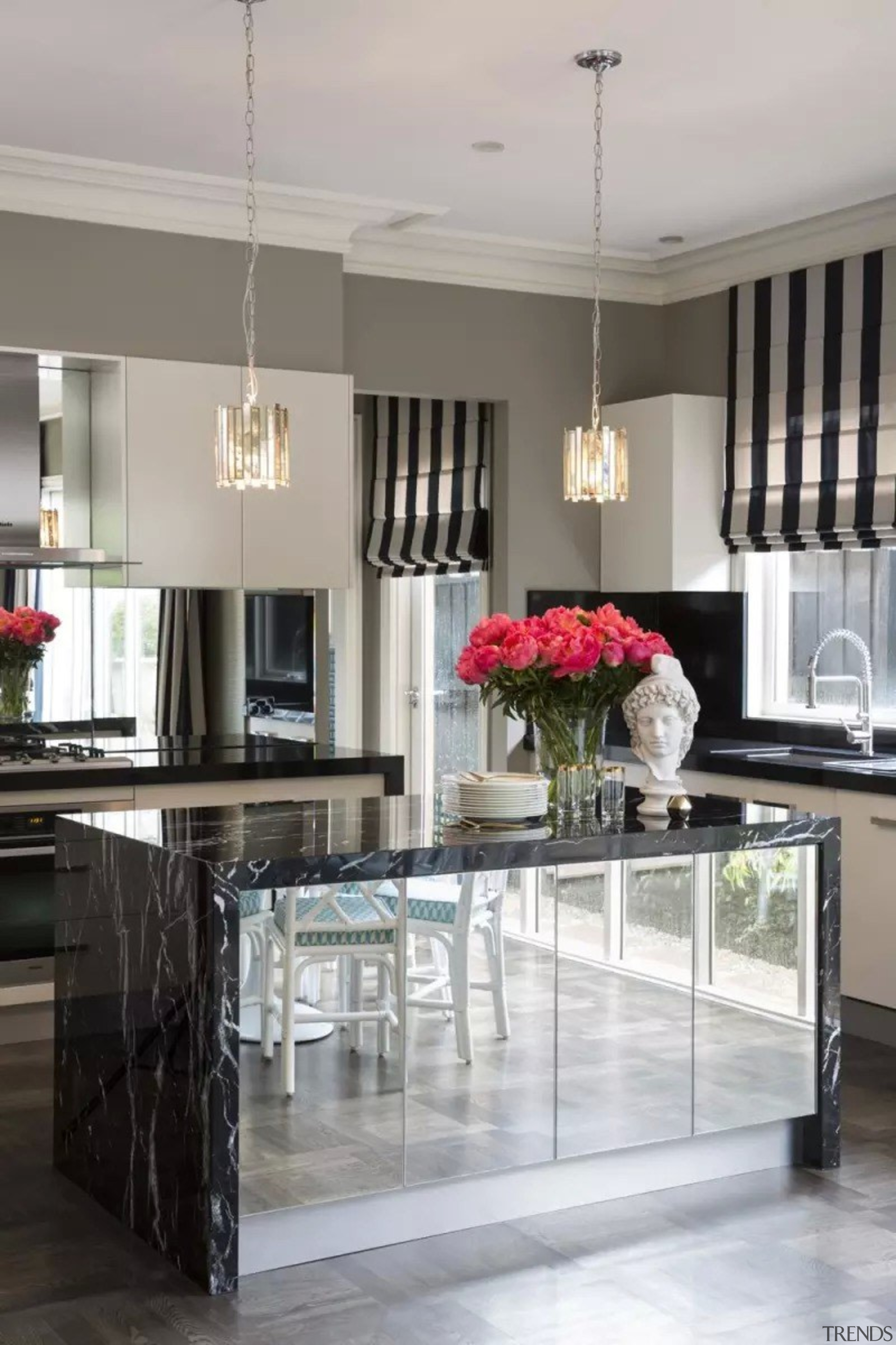 French classic-style residence by Massimo Interiors ceiling, countertop, cuisine classique, floor, flooring, furniture, interior design, kitchen, room, table, gray