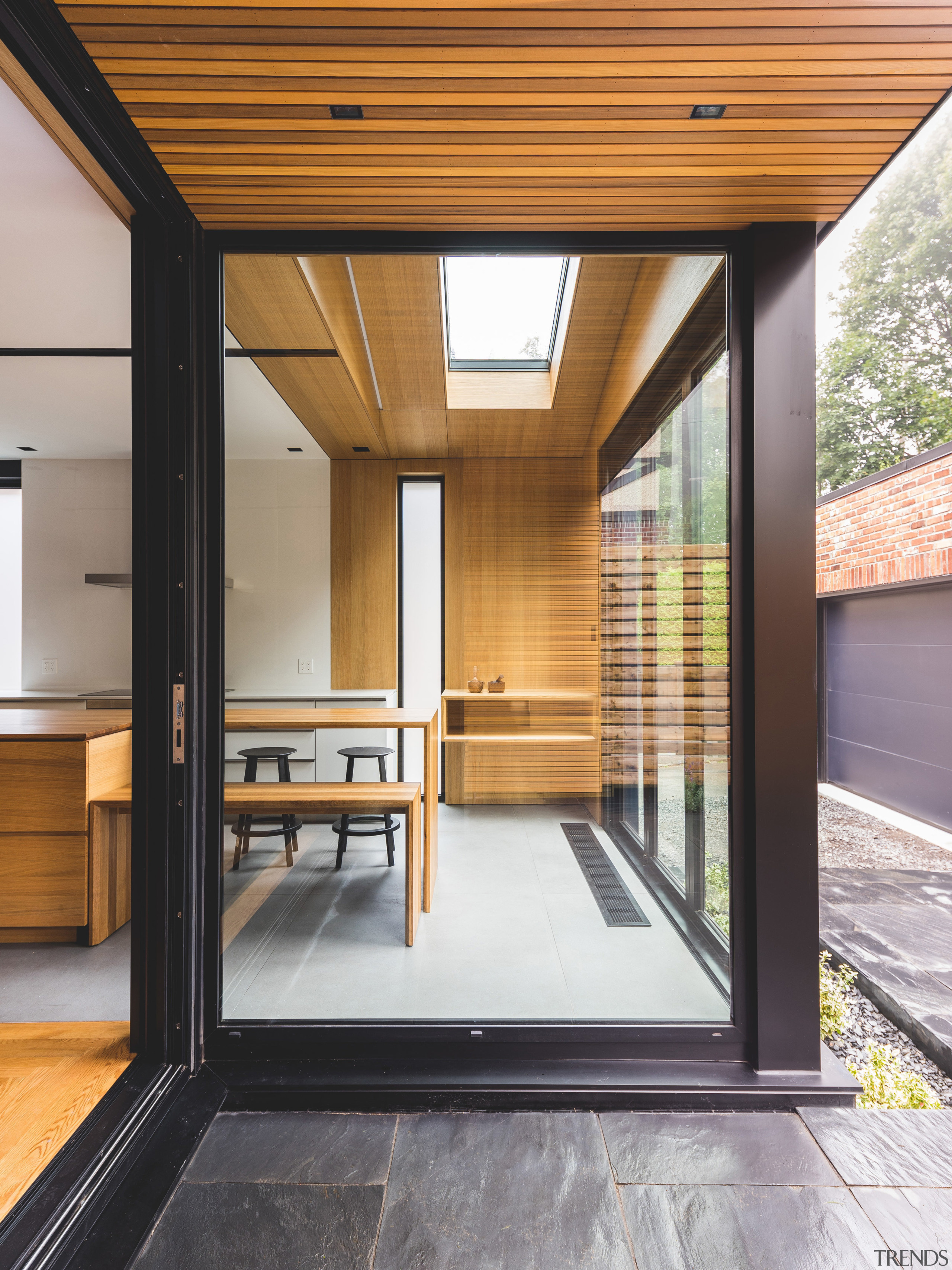 An extension at the back of this 1930s architecture, door, floor, house, window