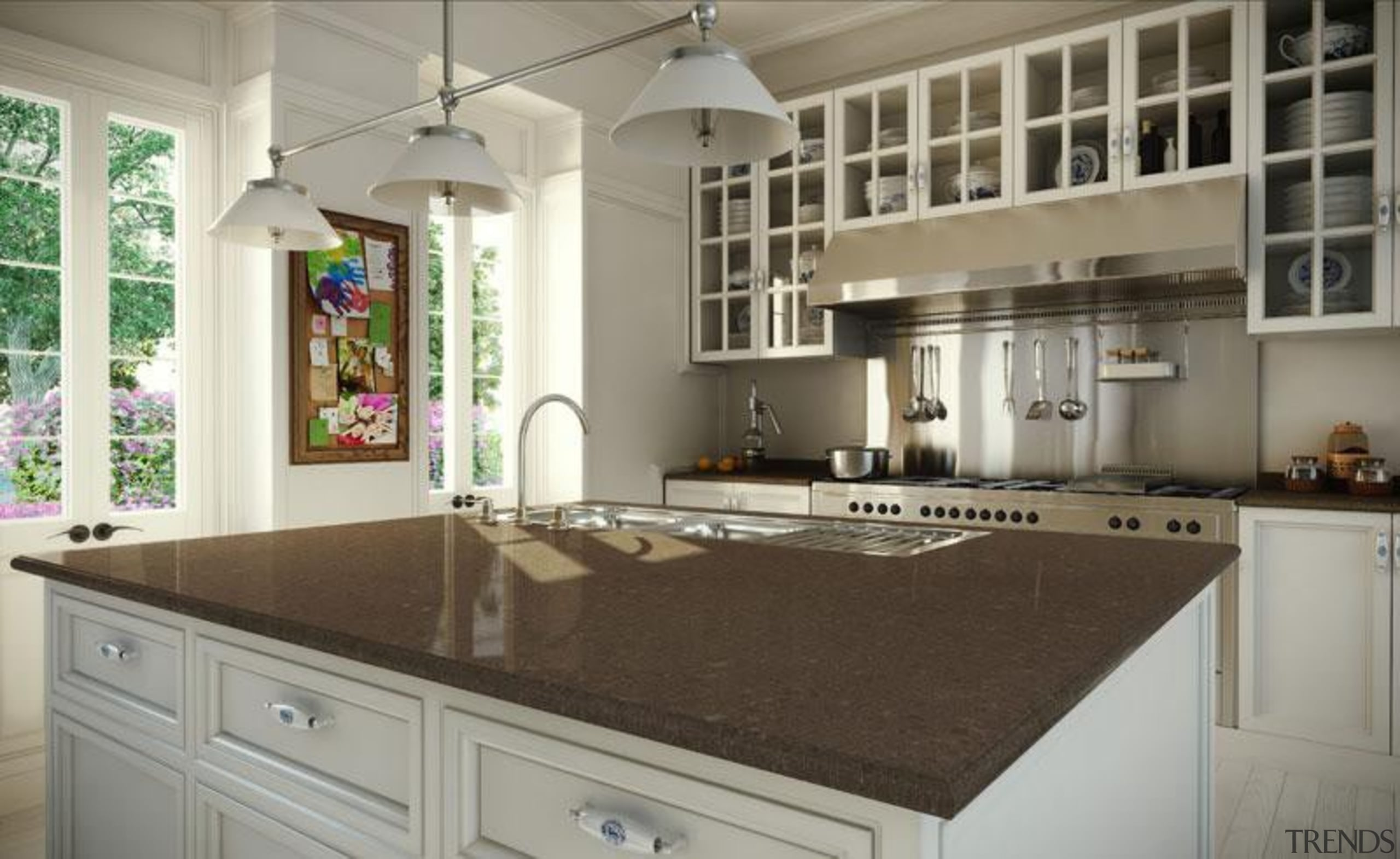 Blended natural mid brown tones within the base cabinetry, countertop, cuisine classique, home, interior design, kitchen, room, gray