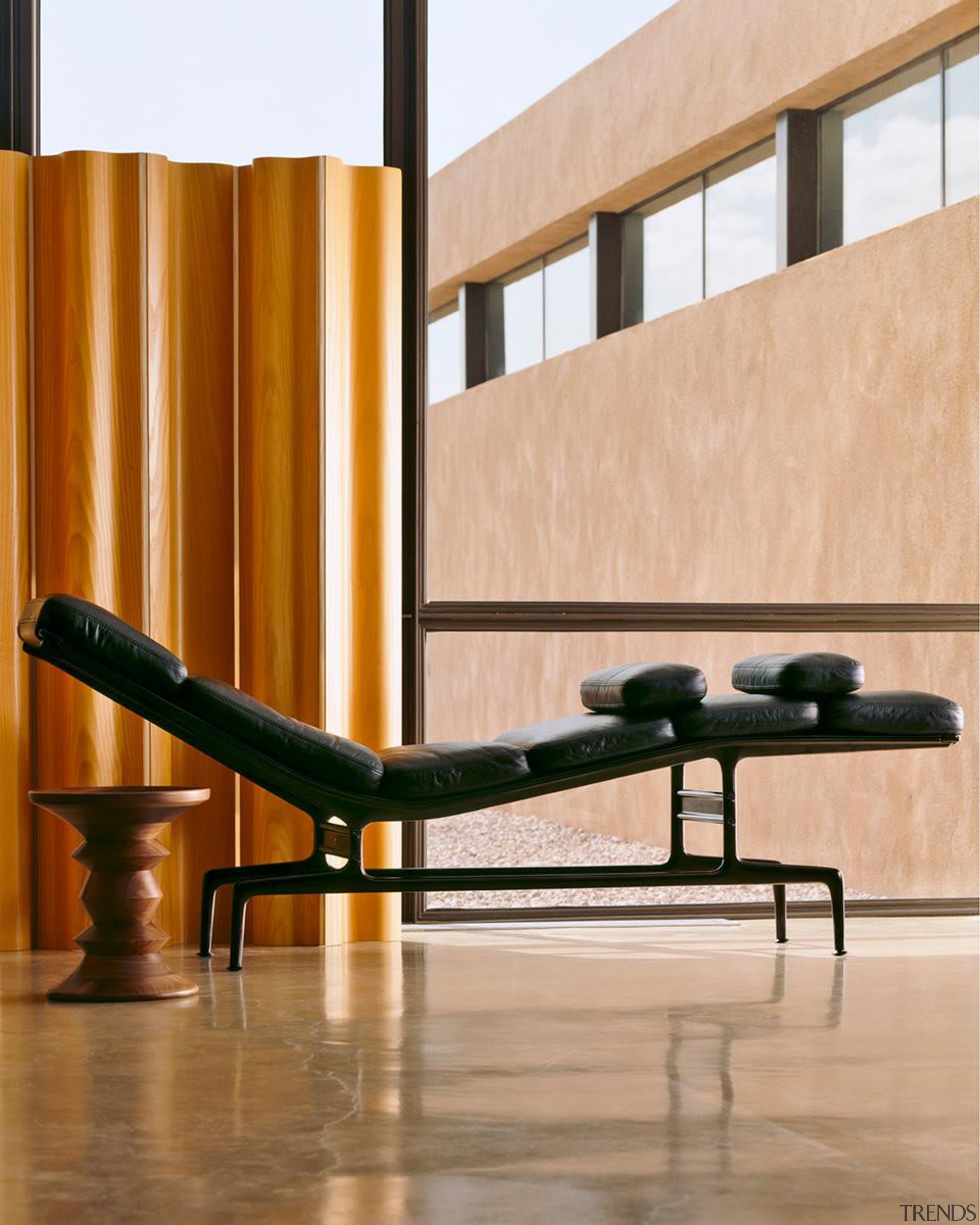 Eames chaise longue by Charles and Ray Eames furniture, interior design, outdoor furniture, product design, table, orange, brown