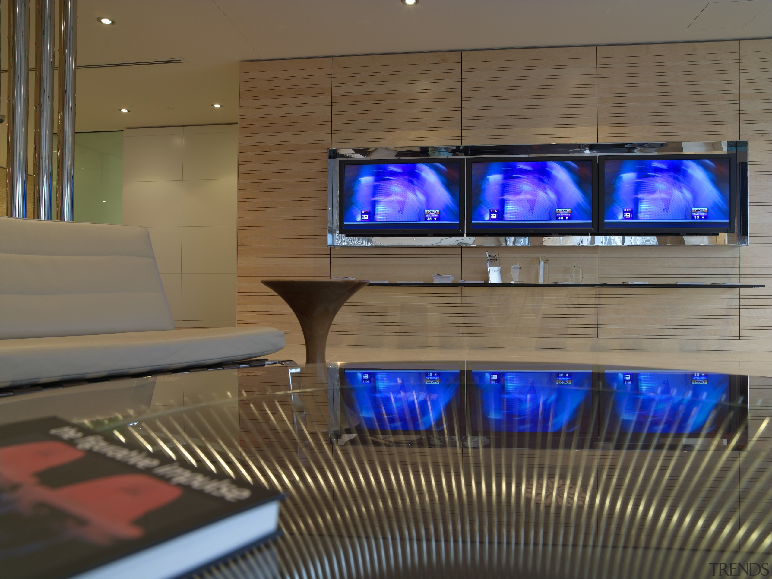 A view of the UBS offices, meetin rooms display device, interior design, brown