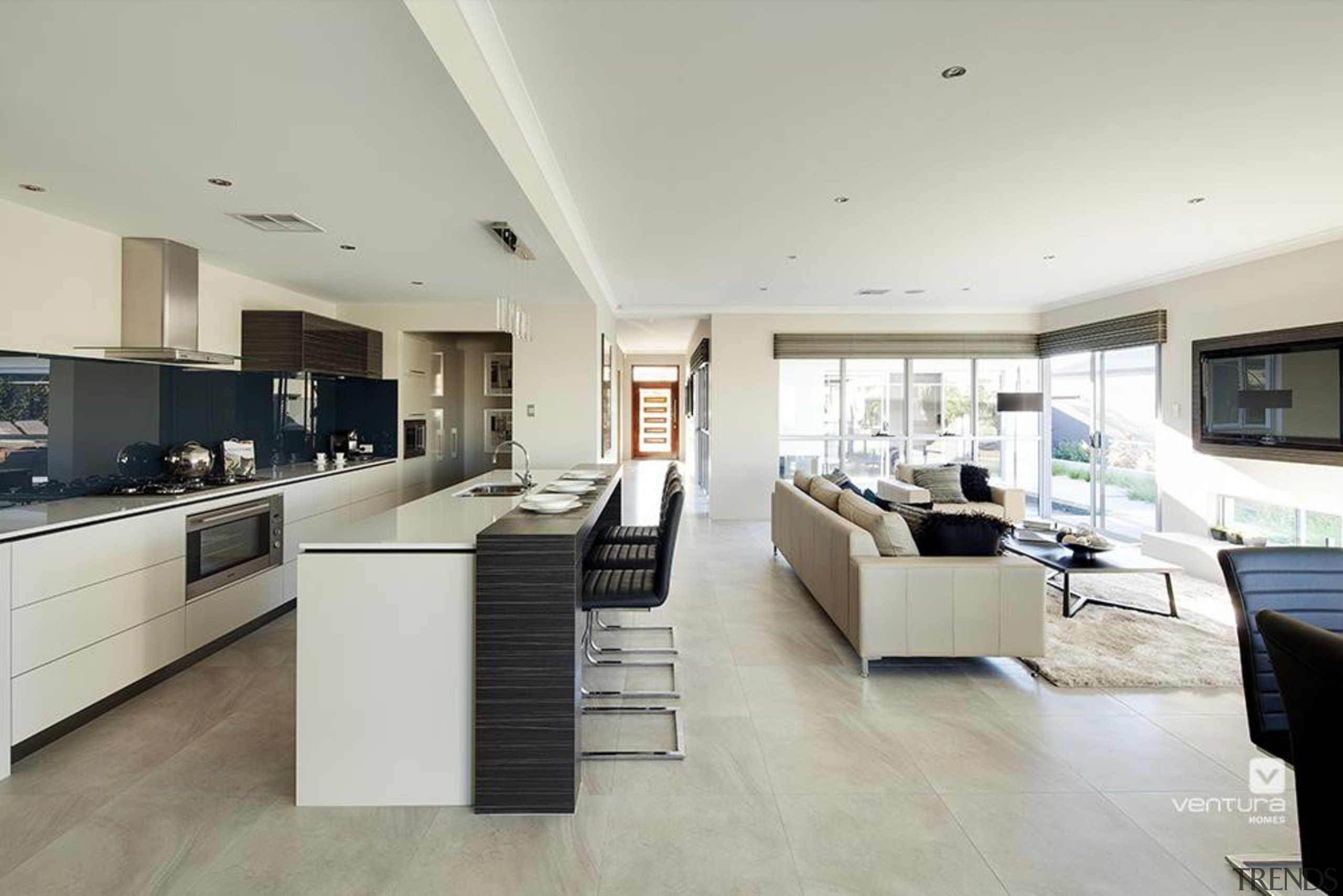 Kitchen design. - The Sentosa Display Home - floor, flooring, interior design, kitchen, living room, property, real estate, gray
