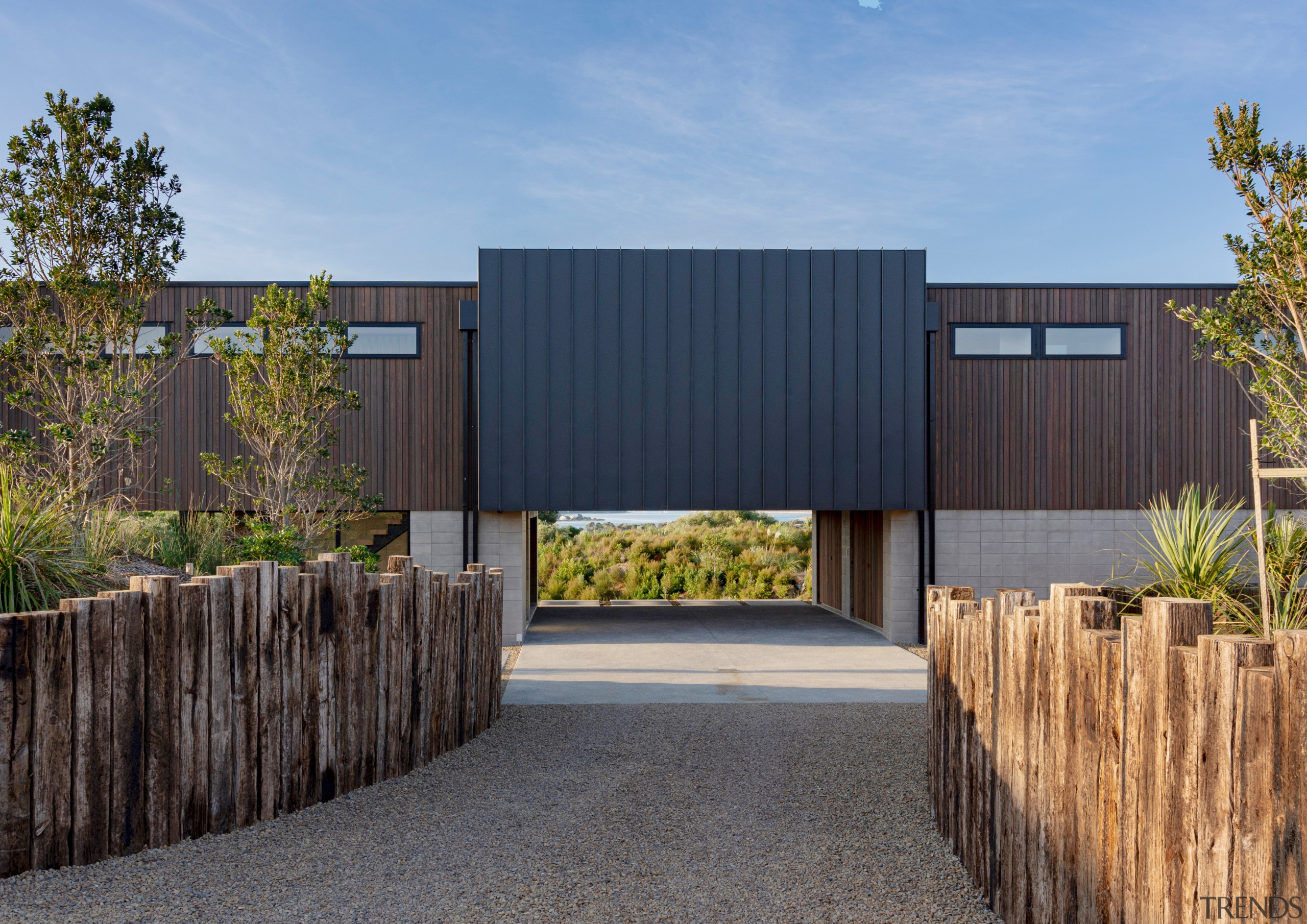 The home's central connector is clad in zinc