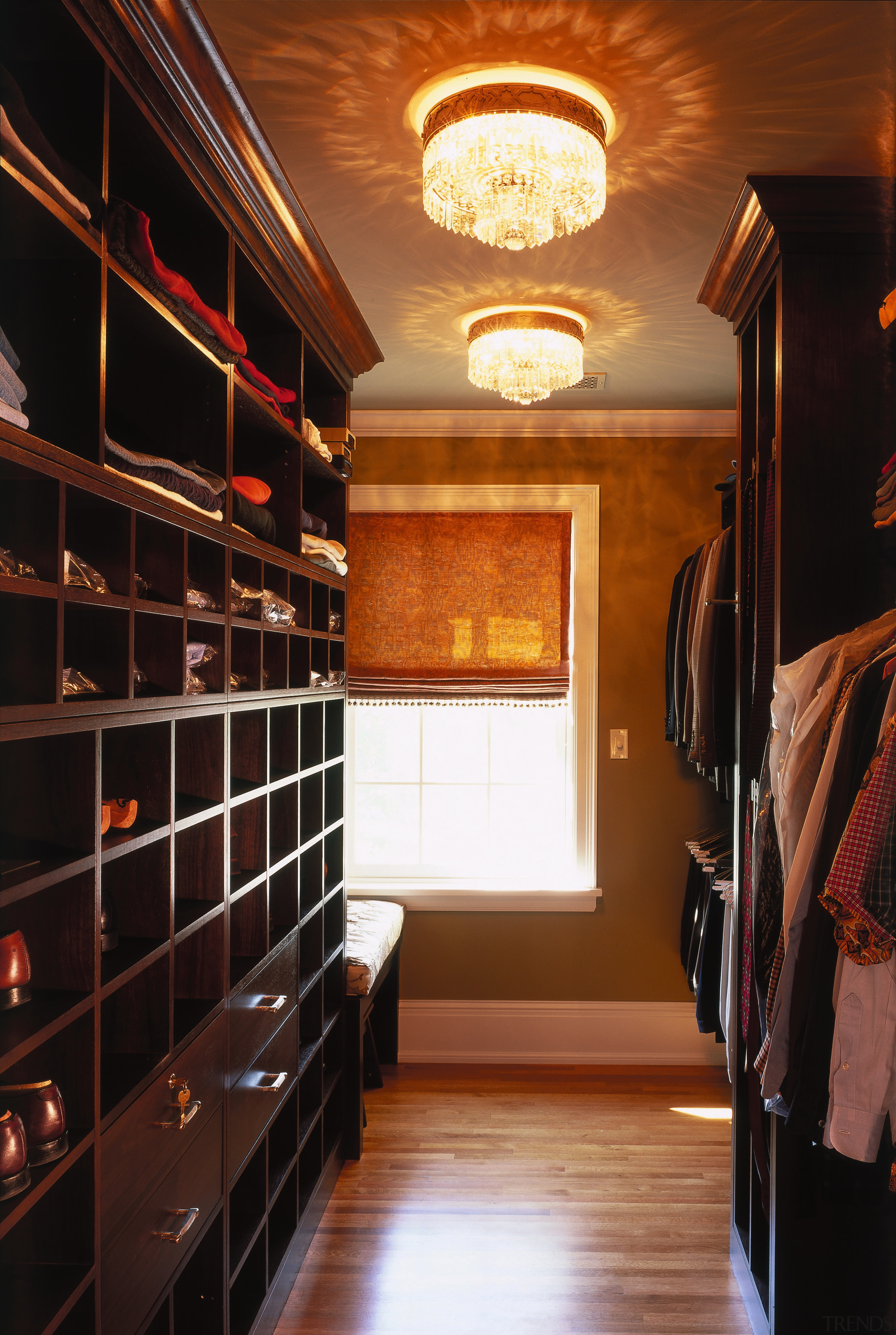 A view of the closet. - A view cabinetry, ceiling, closet, flooring, hardwood, interior design, lighting, room, wood, black, brown