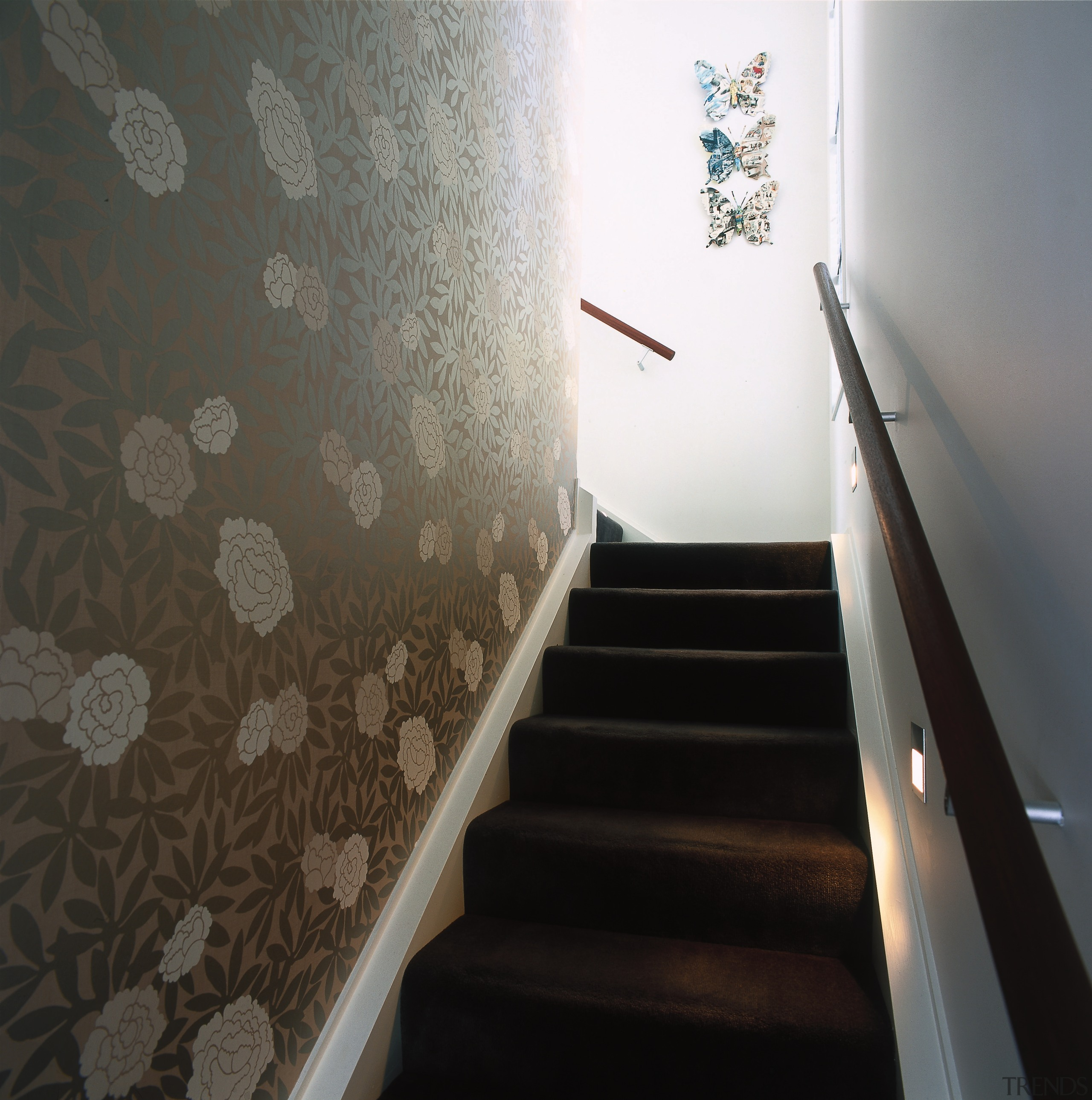 View of this stairway - View of this architecture, ceiling, daylighting, floor, flooring, handrail, interior design, plaster, property, stairs, wall, black, gray