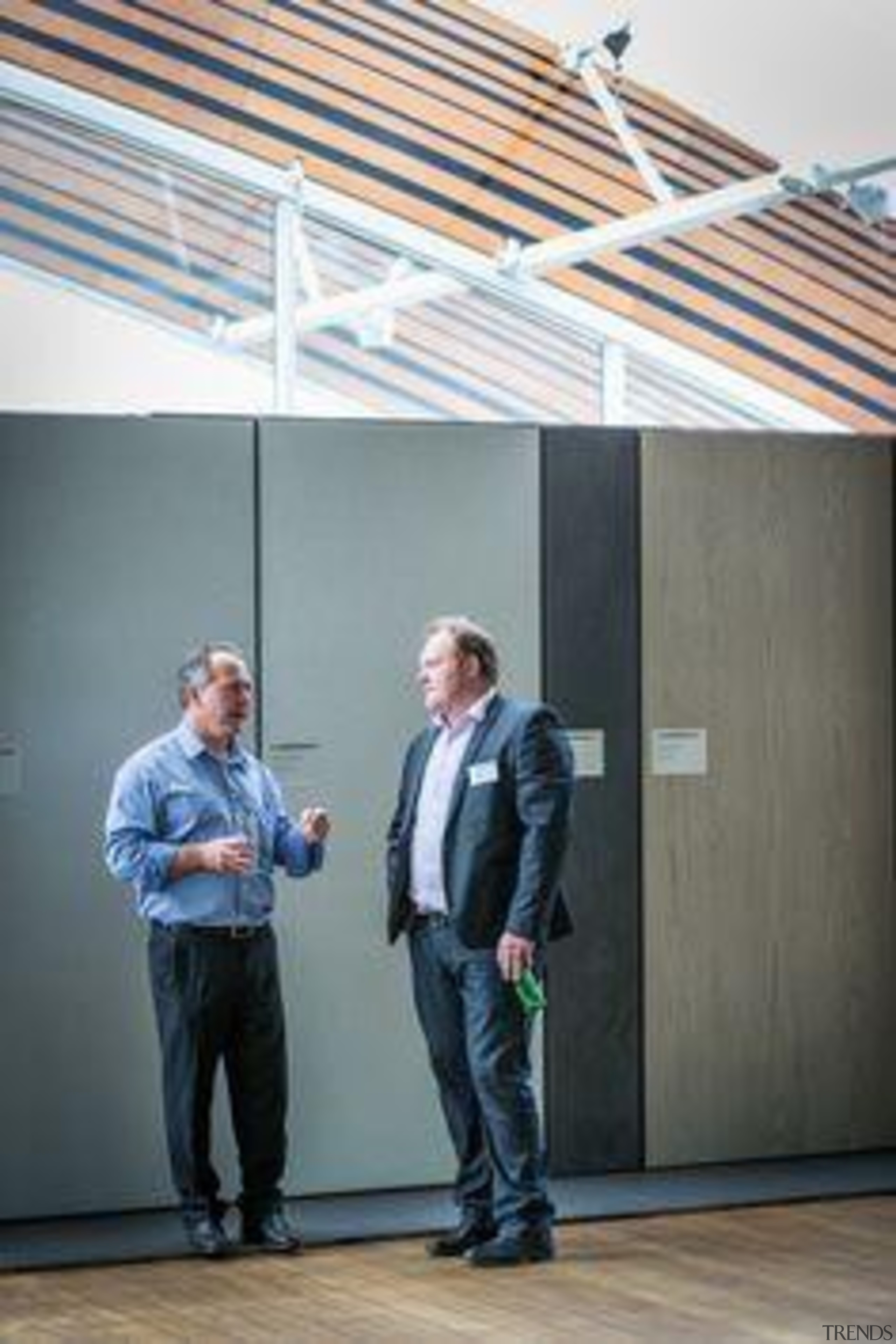 Gavin Norrington, Sika NZ, and Andy Lamont, Europica ceiling, standing, window, gray