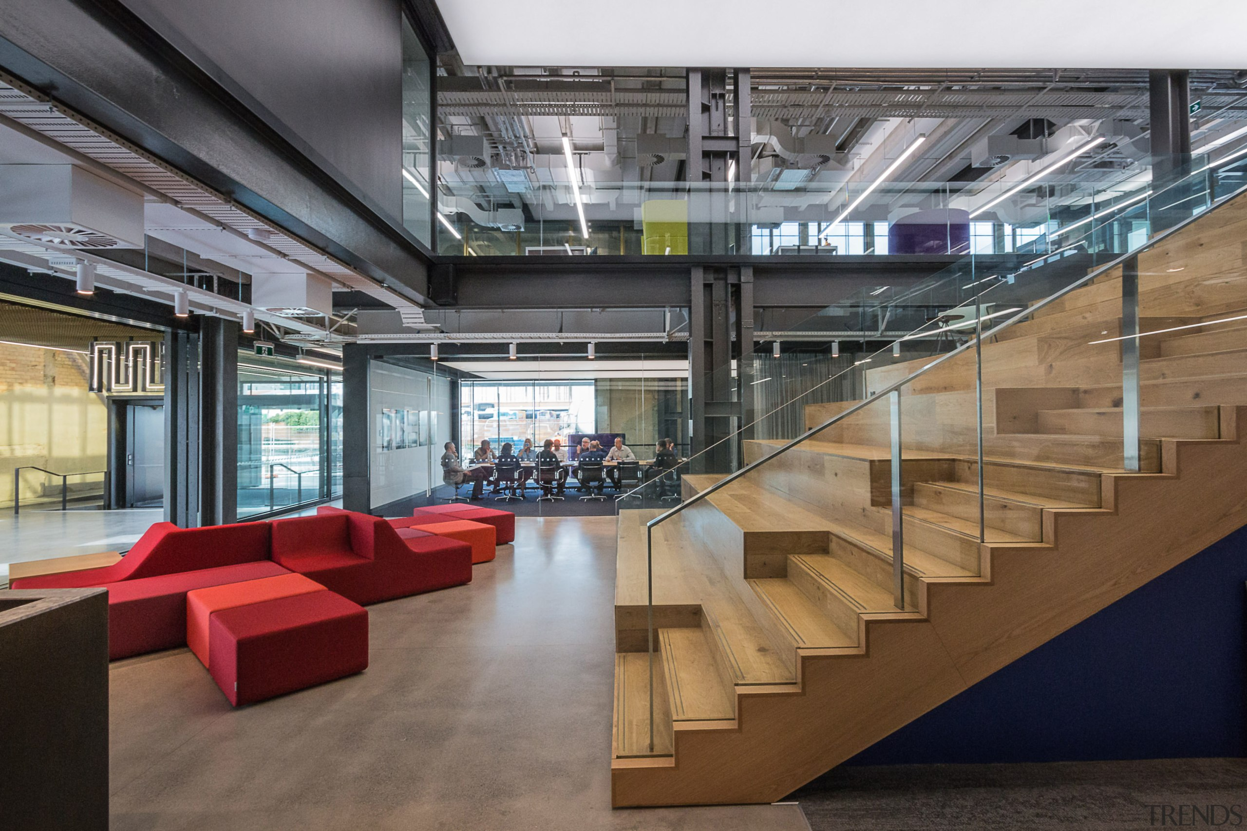 The central wood auditorium staircase in architects Warren architecture, daylighting, institution, interior design, lobby, gray