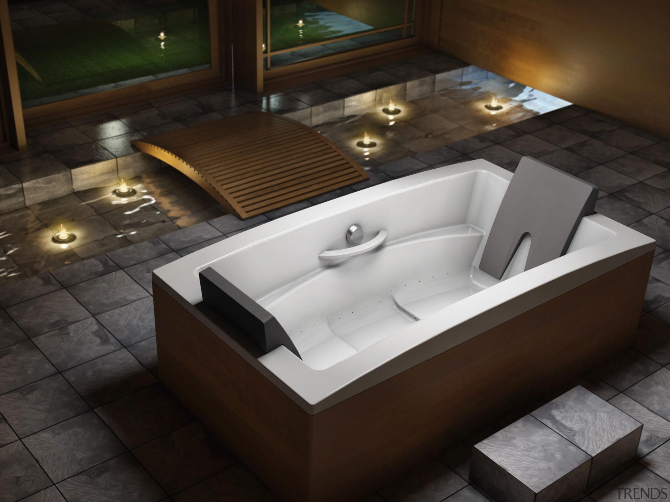 The Inua bath is the next generation in angle, bathtub, floor, plumbing fixture, product design, sink, black