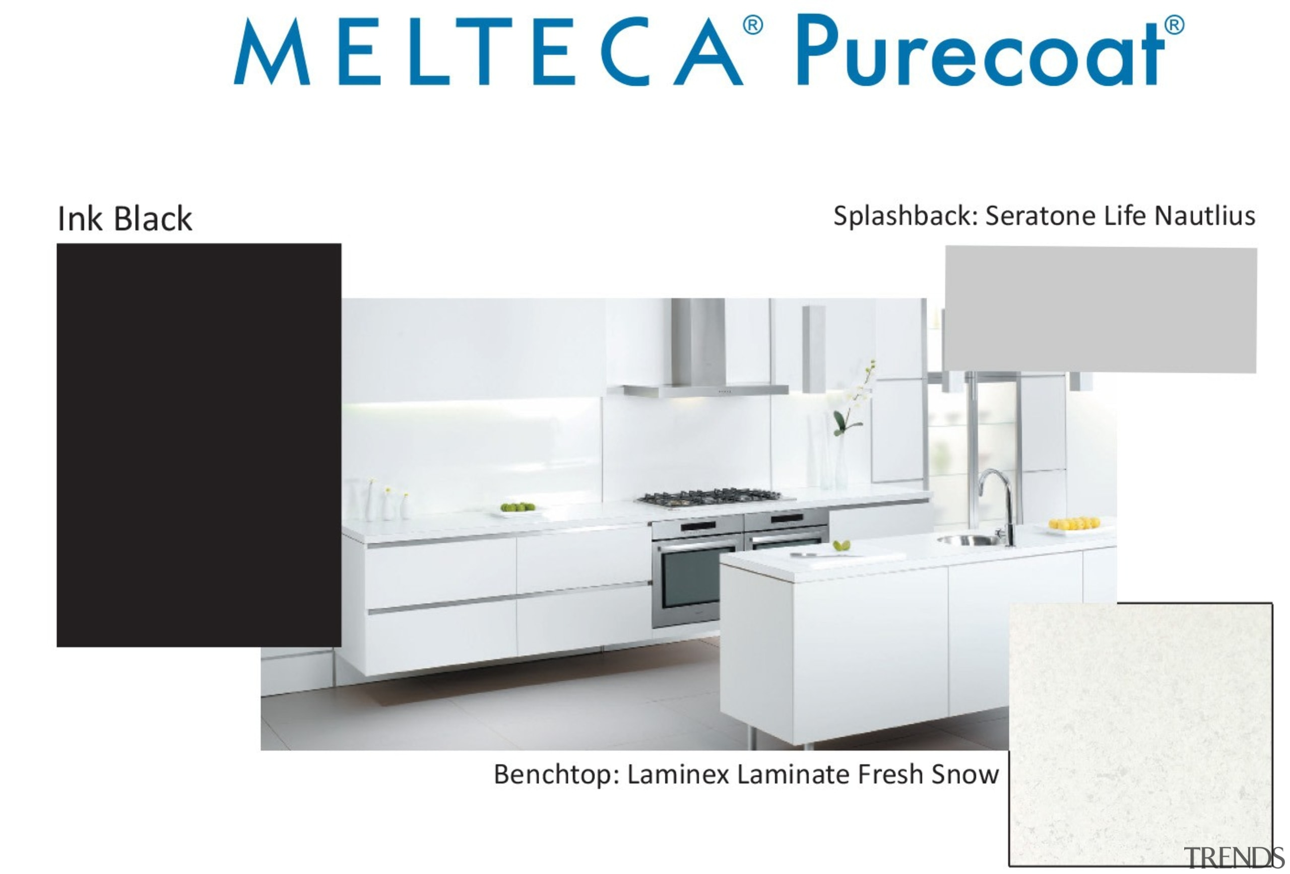 New Zealand made Melteca Purecoat surfaces utilise cutting-edge bathroom accessory, furniture, kitchen, product, product design, table, white