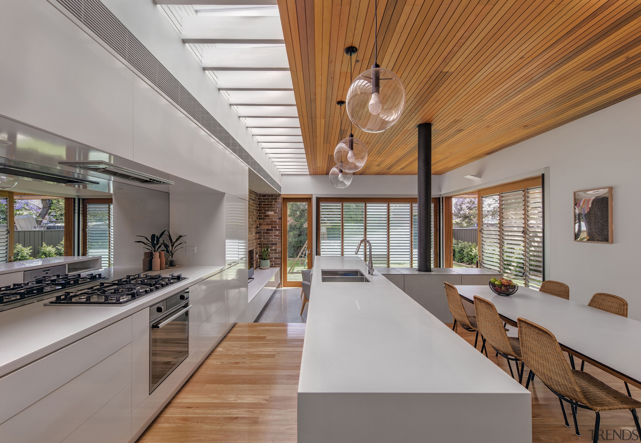 Close to the neighbours? Well, yes, but the architecture, ceiling, daylighting, estate, house, interior design, real estate, gray, brown