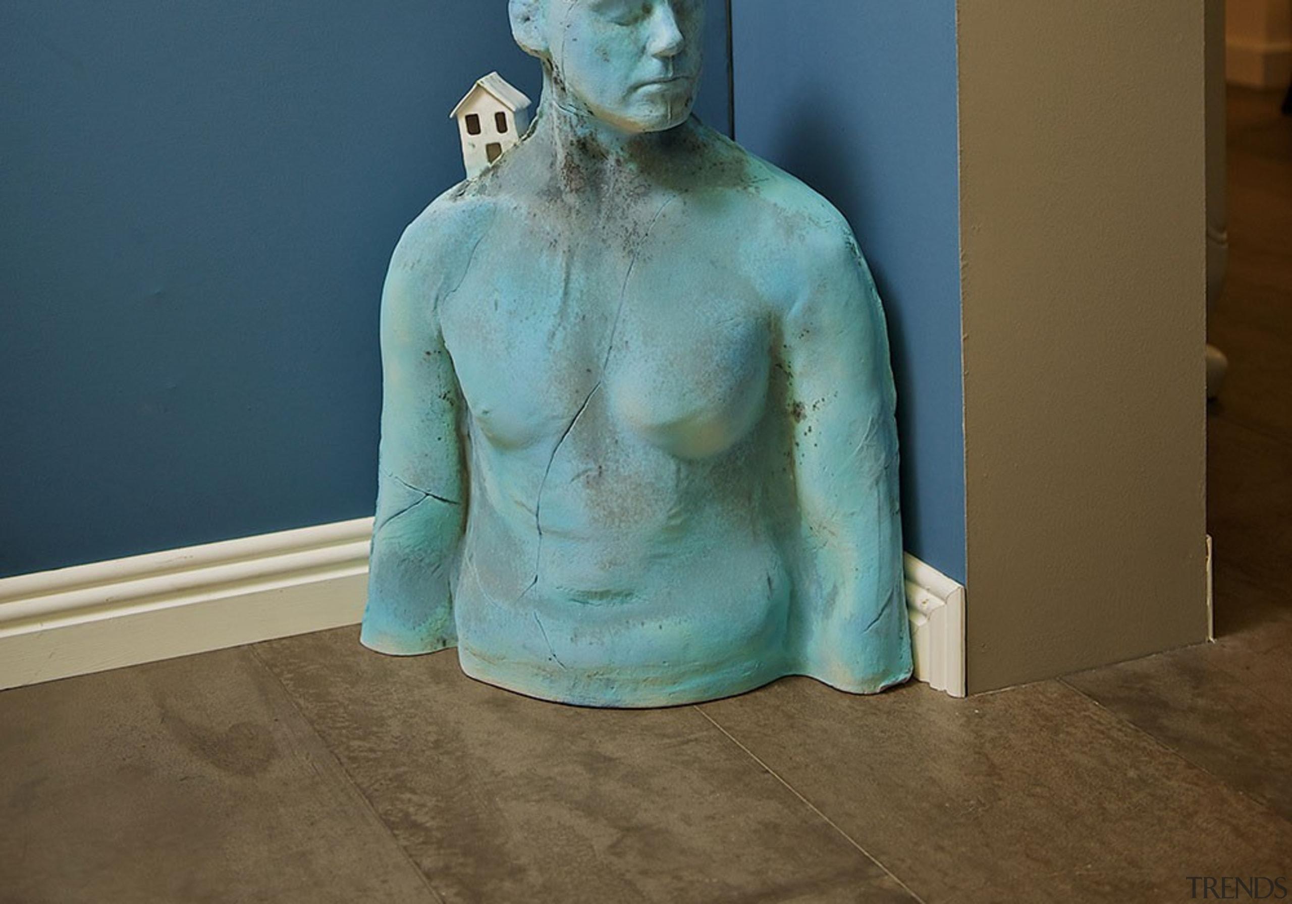 blue house 4 - blue_house_4 - art   art, classical sculpture, sculpture, statue, trunk, brown, teal