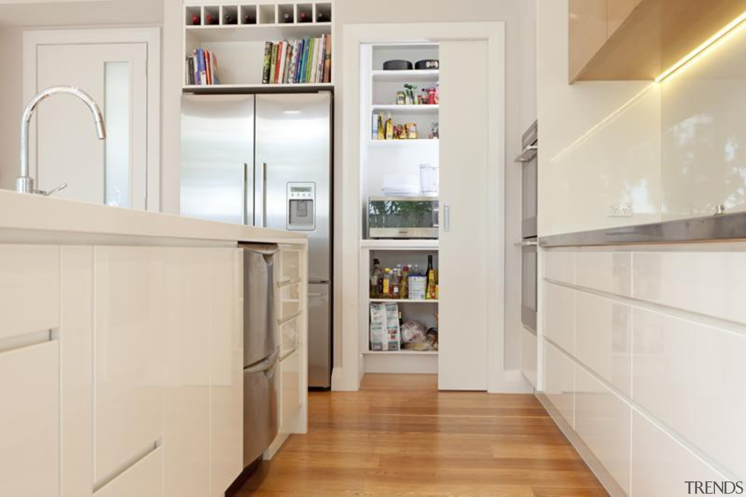 handless less cabinetry, walk in pantry, led lighting cabinetry, countertop, cuisine classique, floor, flooring, hardwood, home appliance, interior design, kitchen, room, gray
