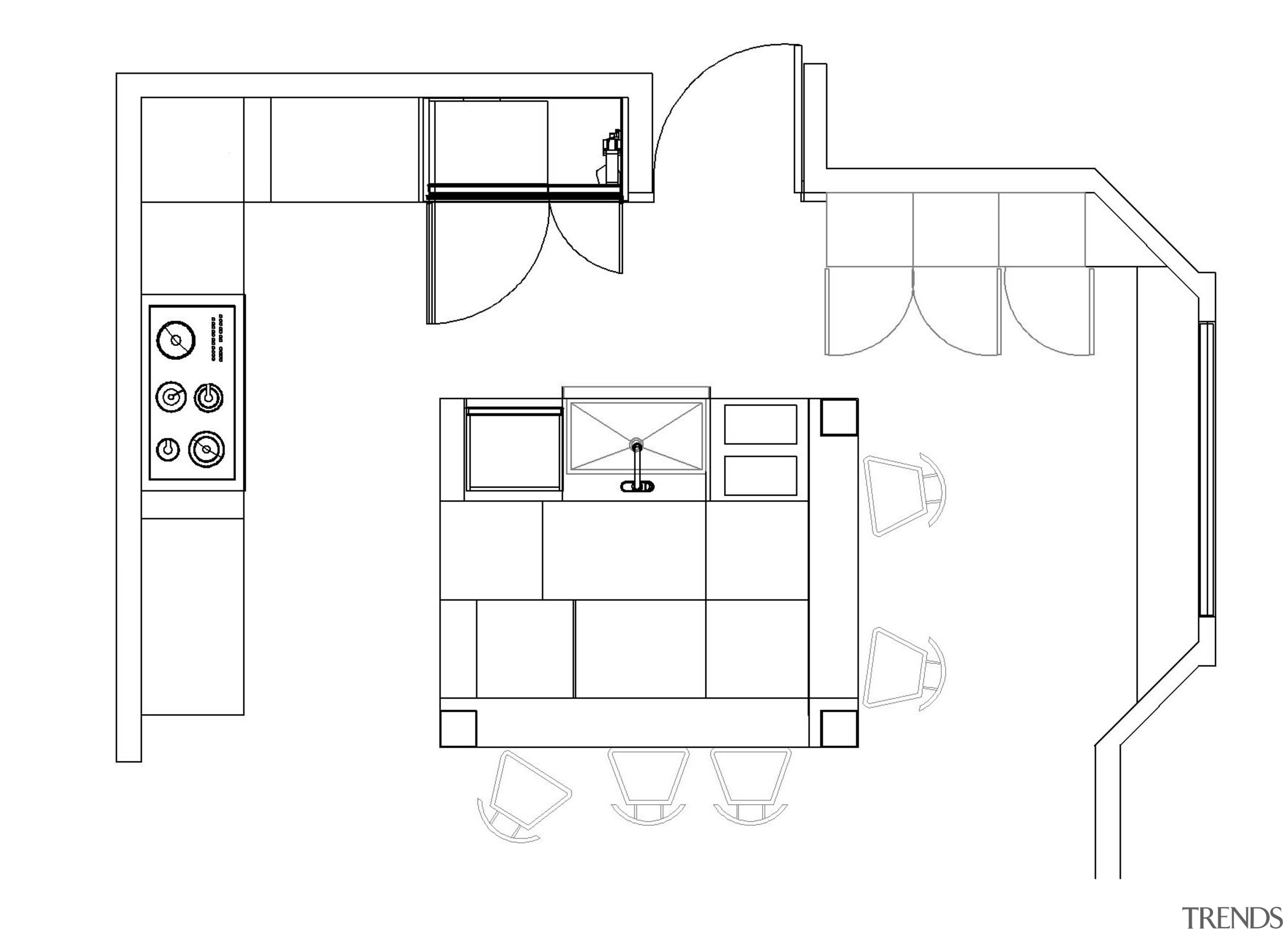 Plan of kitchen with square island - Plan angle, area, black and white, design, diagram, drawing, floor plan, font, furniture, line, line art, product, product design, structure, technical drawing, white