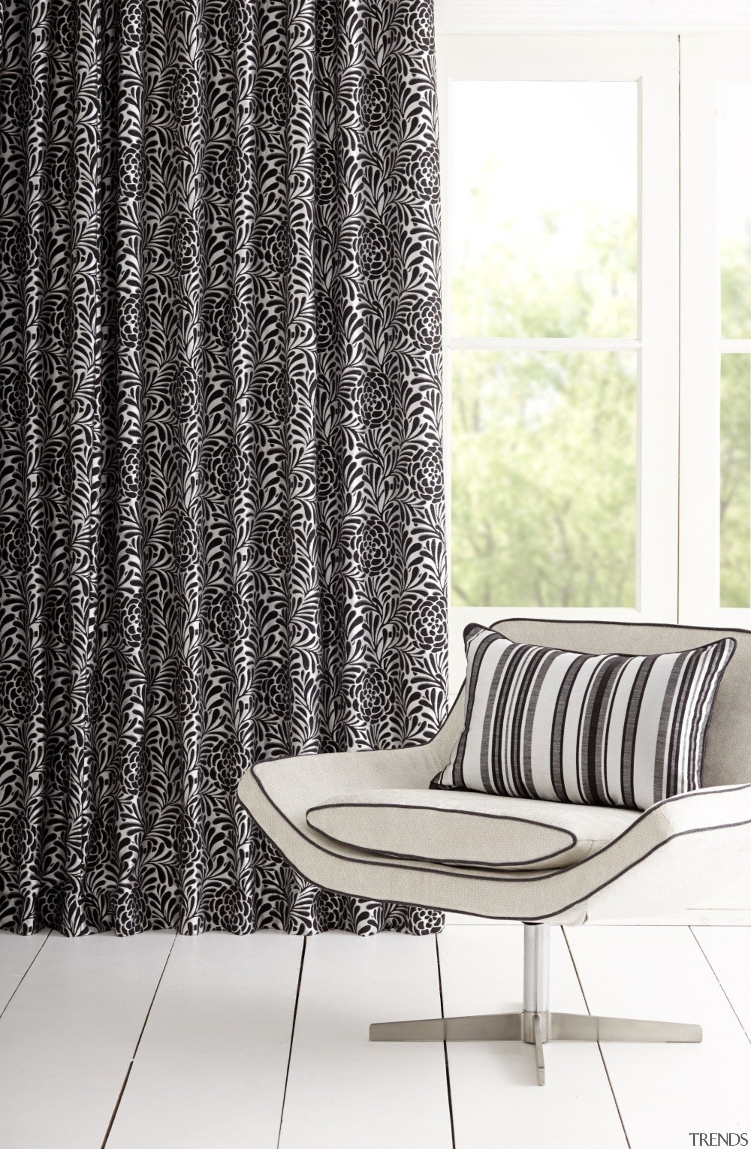 Harrisons Curtains - Harrisons Curtains - black and black and white, chair, curtain, furniture, interior design, product design, textile, window, window treatment, white, black