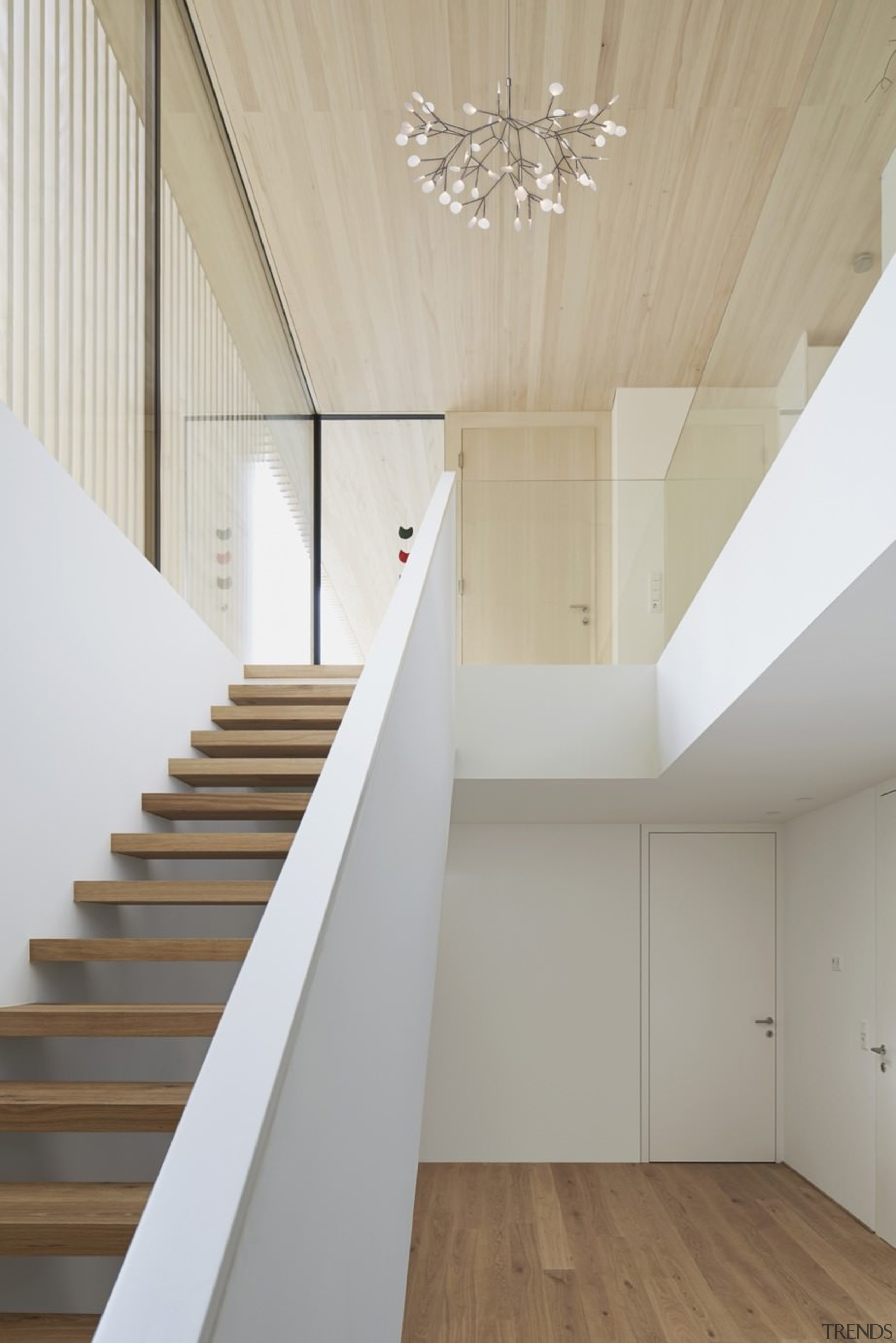Architect: Helena Weber architectsPhotography by Adolf Bereuter architecture, ceiling, daylighting, floor, handrail, home, house, interior design, loft, product design, property, real estate, stairs, wood, wood flooring, gray