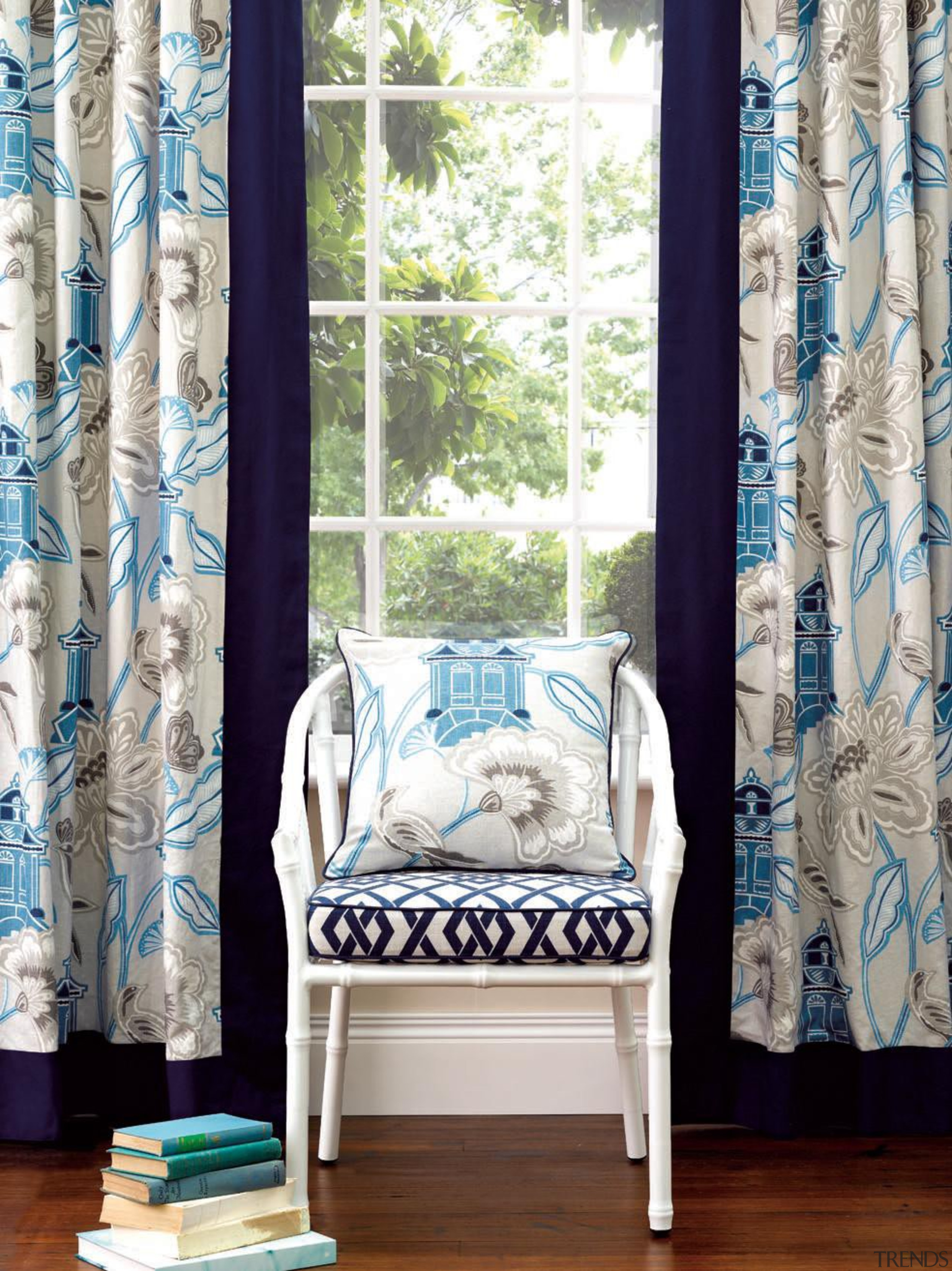 Lantern Garden - Lantern Garden - blue | blue, chair, curtain, decor, furniture, home, interior design, living room, product, room, textile, window, window blind, window covering, window treatment, white