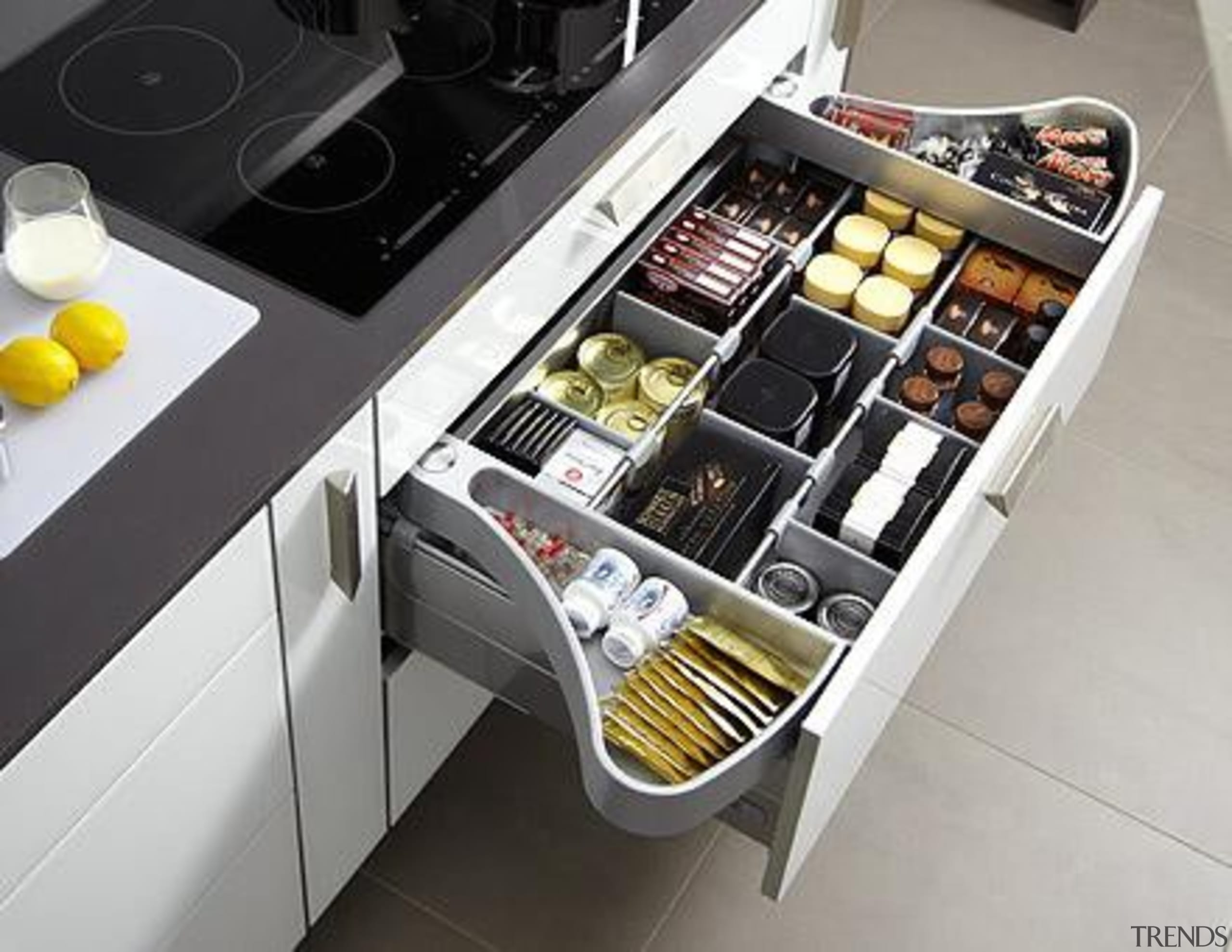 Moving compartments that swing out to the side furniture, kitchen, product, product design, gray, black