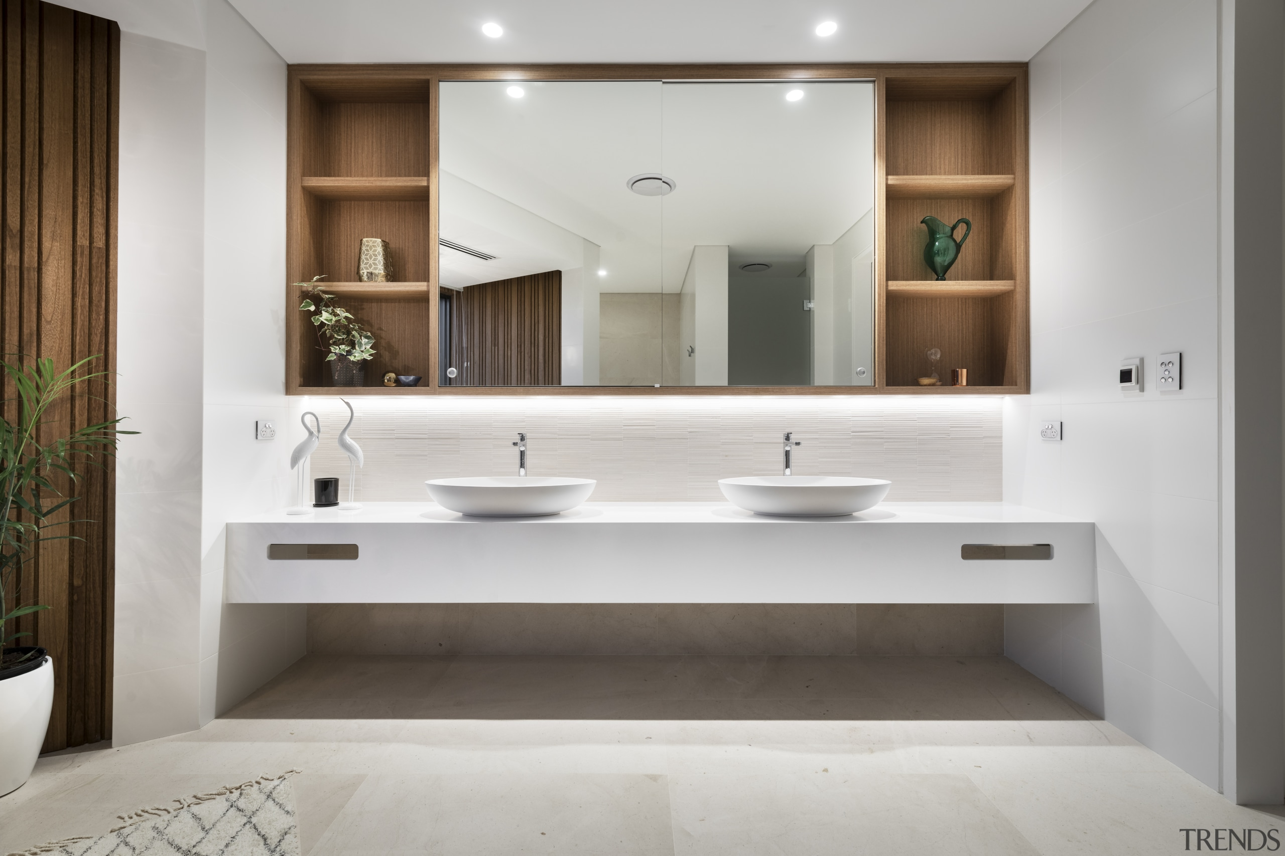 In one move to future-proof this master bathroom, gray