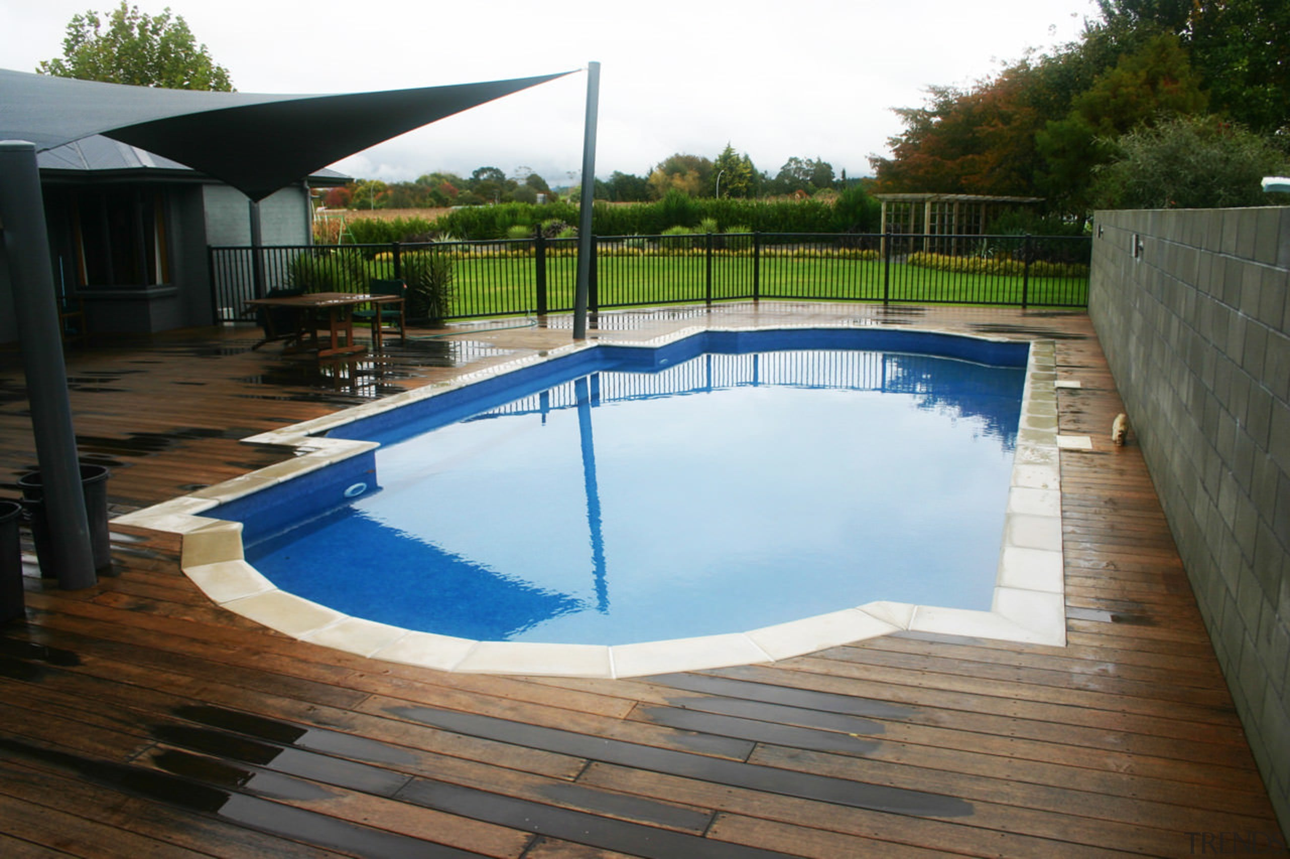 Cascades highly durable Aqualux 770 interiors last over backyard, deck, floor, leisure, outdoor structure, property, real estate, swimming pool, water, wood, yard, brown, white