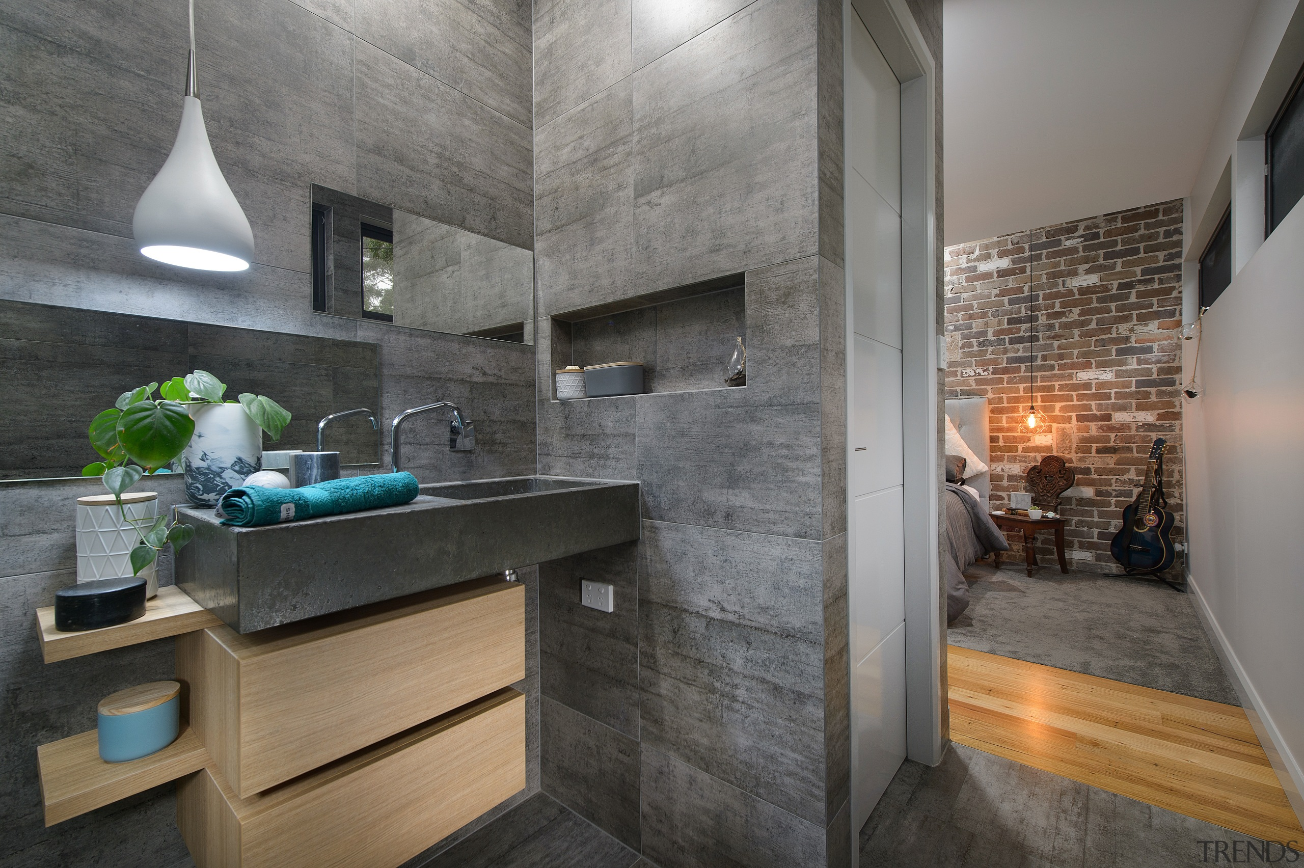 Exposed brickwork in the bedroom is the perfect architecture, countertop, interior design, loft, gray, black
