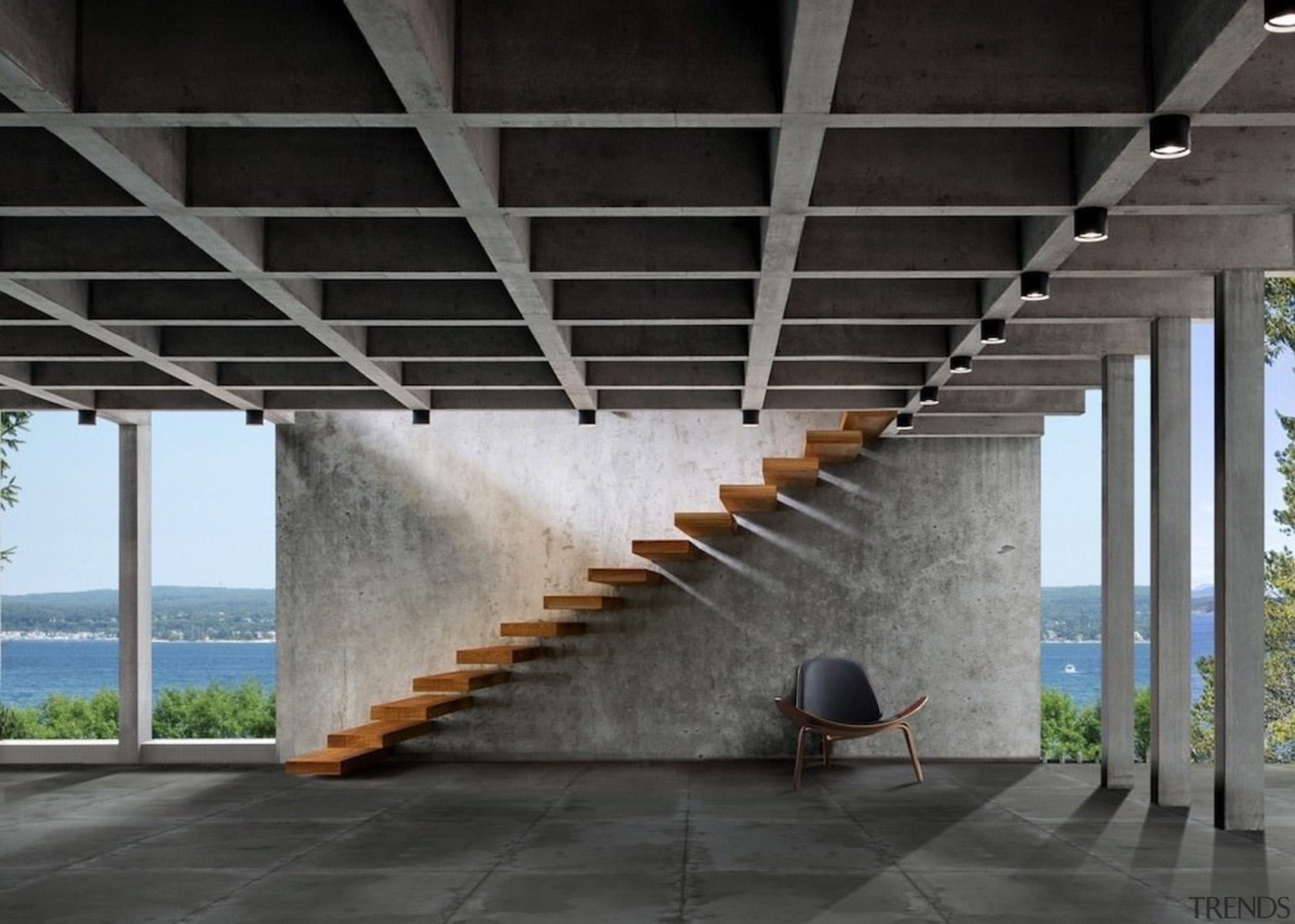 This floating staircase runs down an area with architecture, daylighting, structure, black, gray