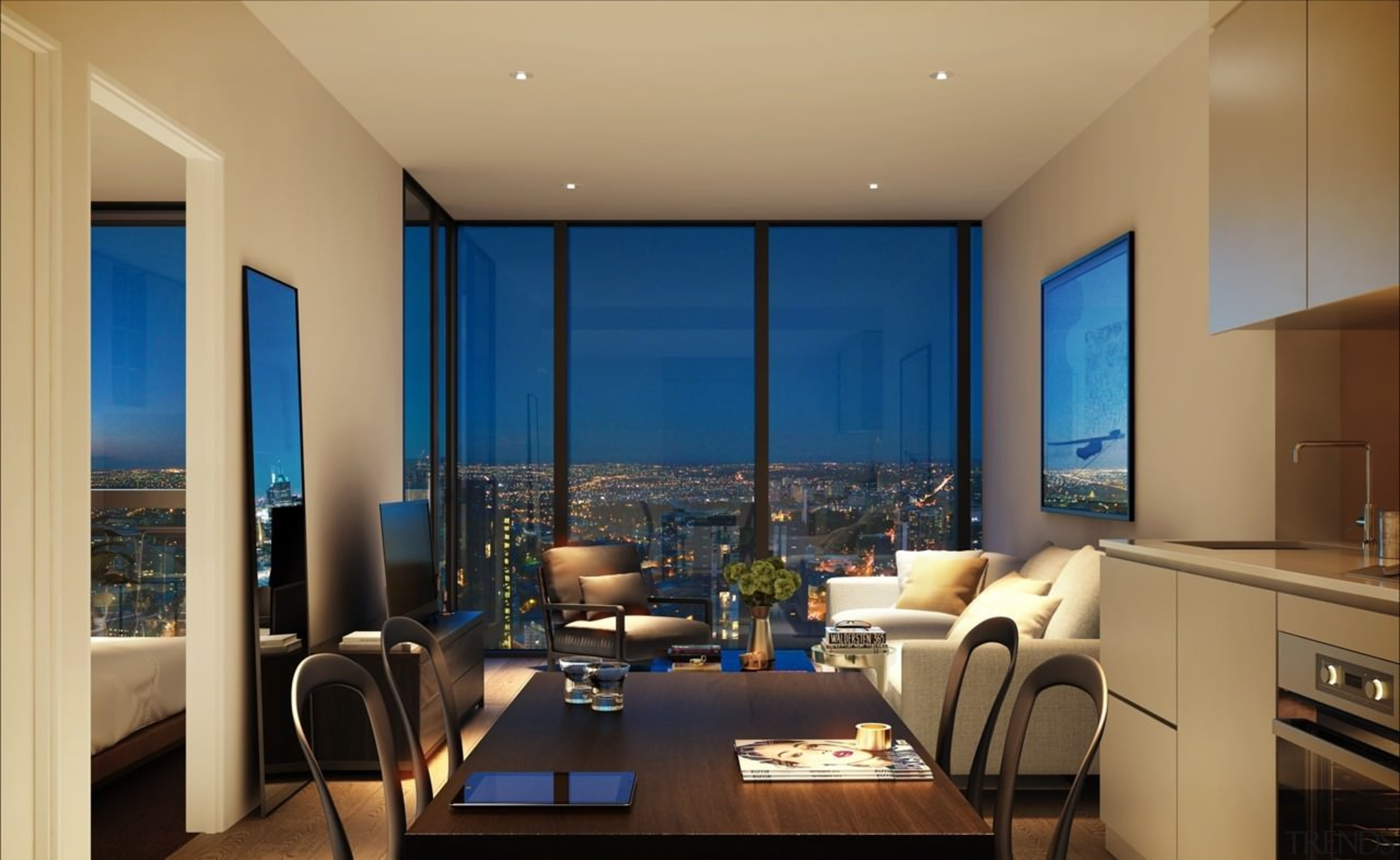 This living room features unparalleled Melbourne views apartment, ceiling, dining room, home, interior design, living room, penthouse apartment, real estate, room, suite, window, orange